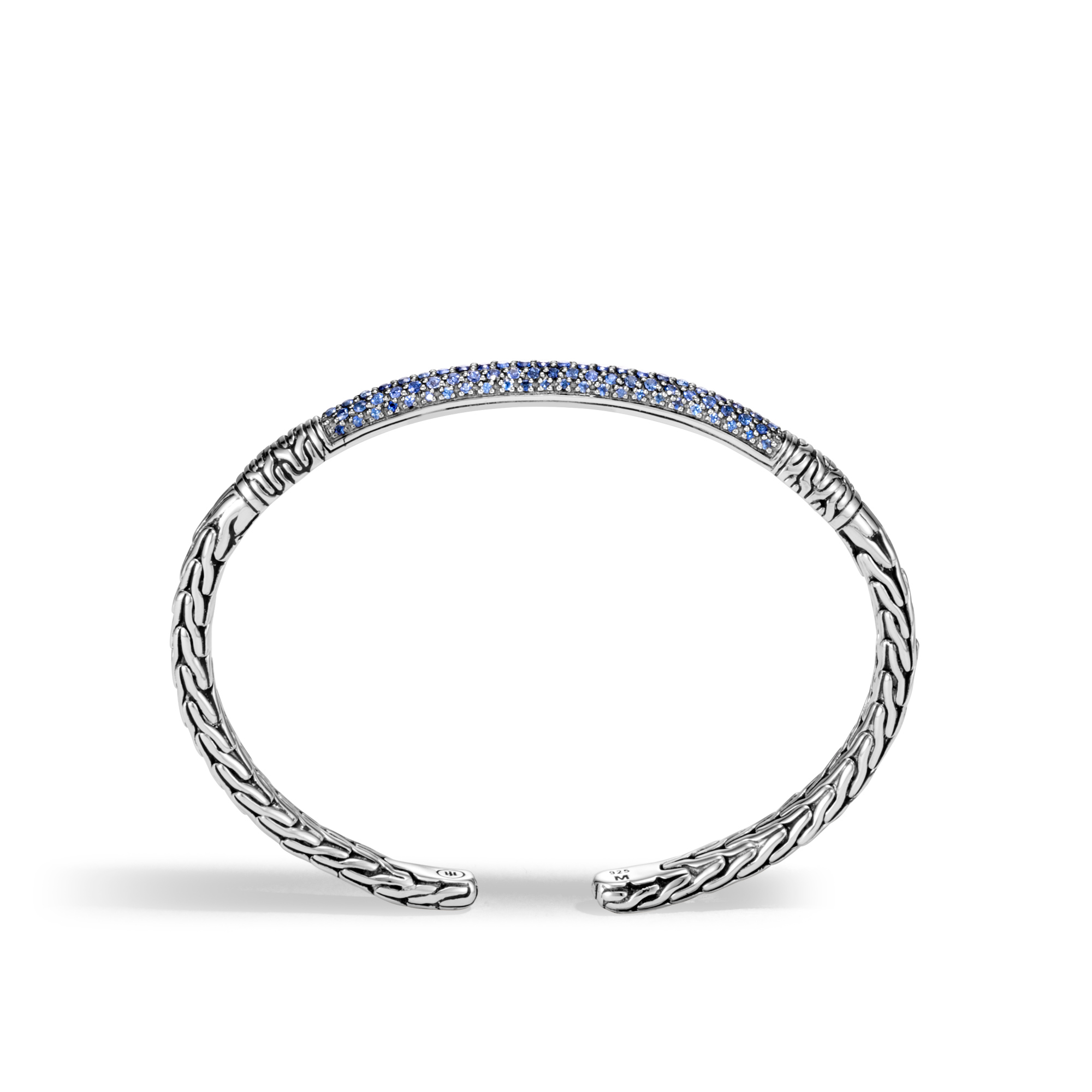 Classic Chain Cuff in Silver with Gemstone, Blue Sapphire, large