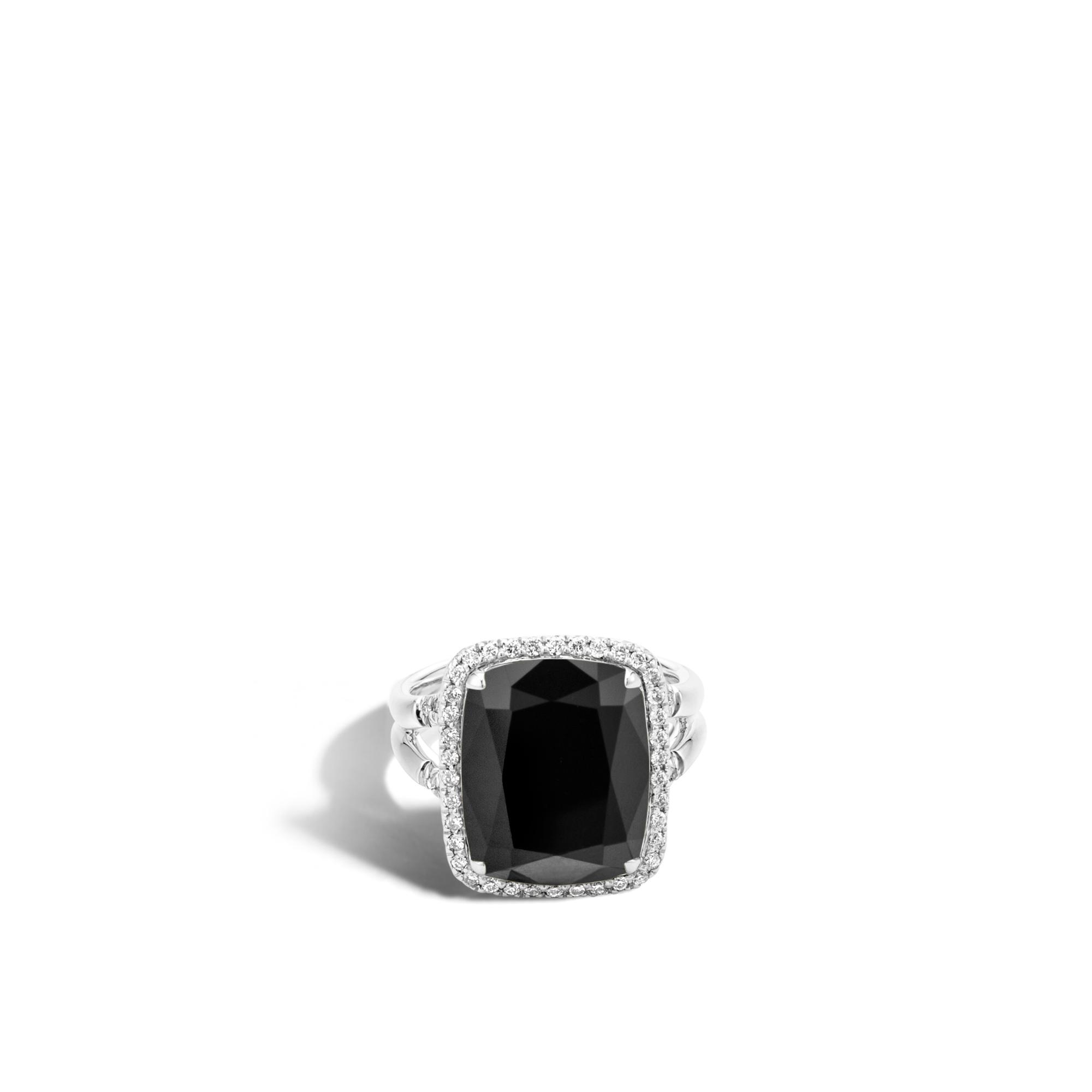 Classic Chain Magic Cut Ring, Silver, 15x12MM Gems, Diamonds, Black Onyx, large