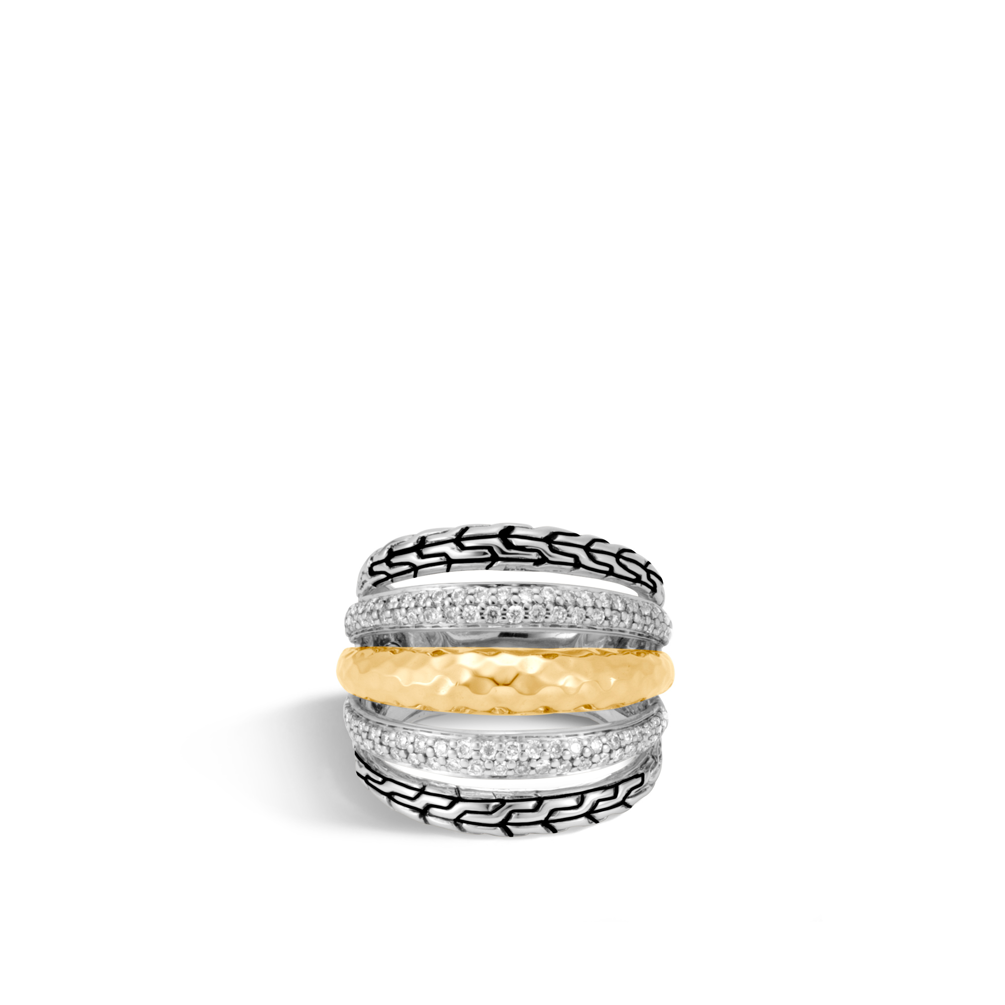 Classic Chain Ring in Silver, Hammered 18K Gold, Diamonds, White Diamond, large
