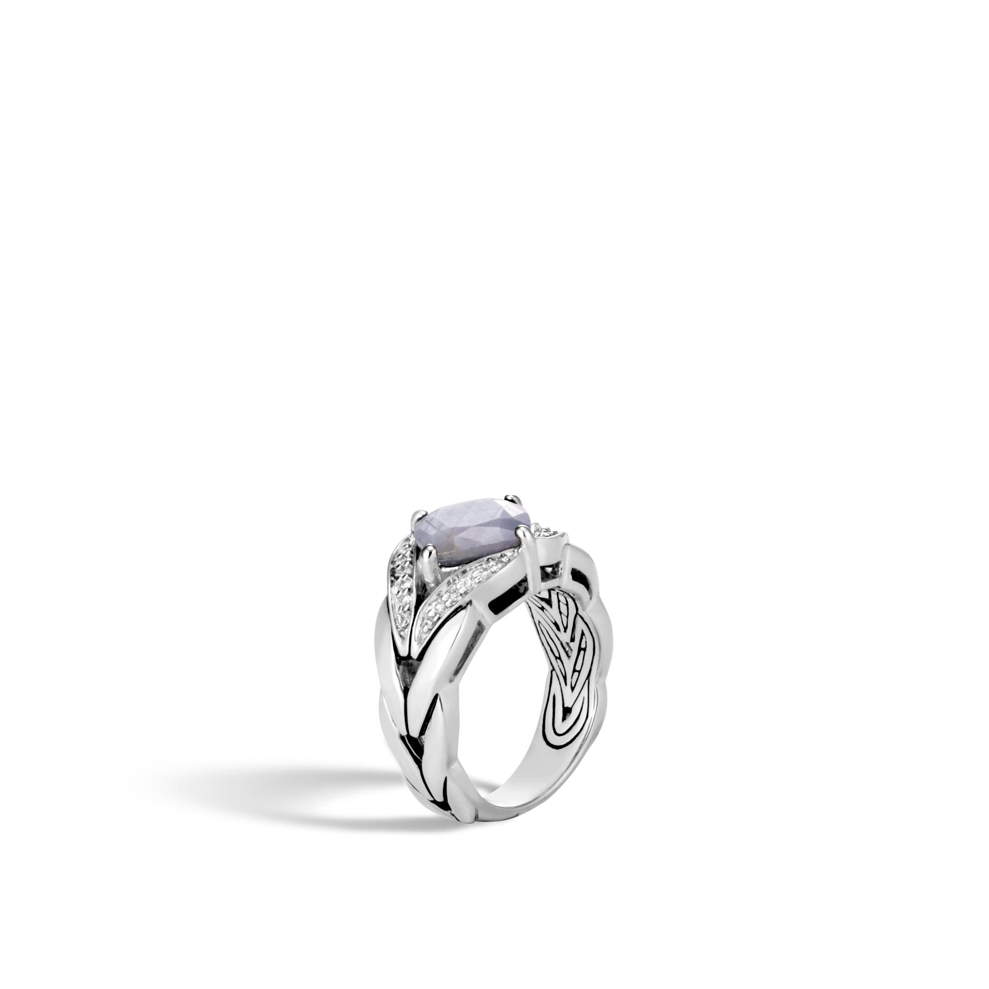 Modern Chain Magic Cut Ring, Silver, 9MM Gemstone, Diamonds, Silver Sheen Sapphire, large