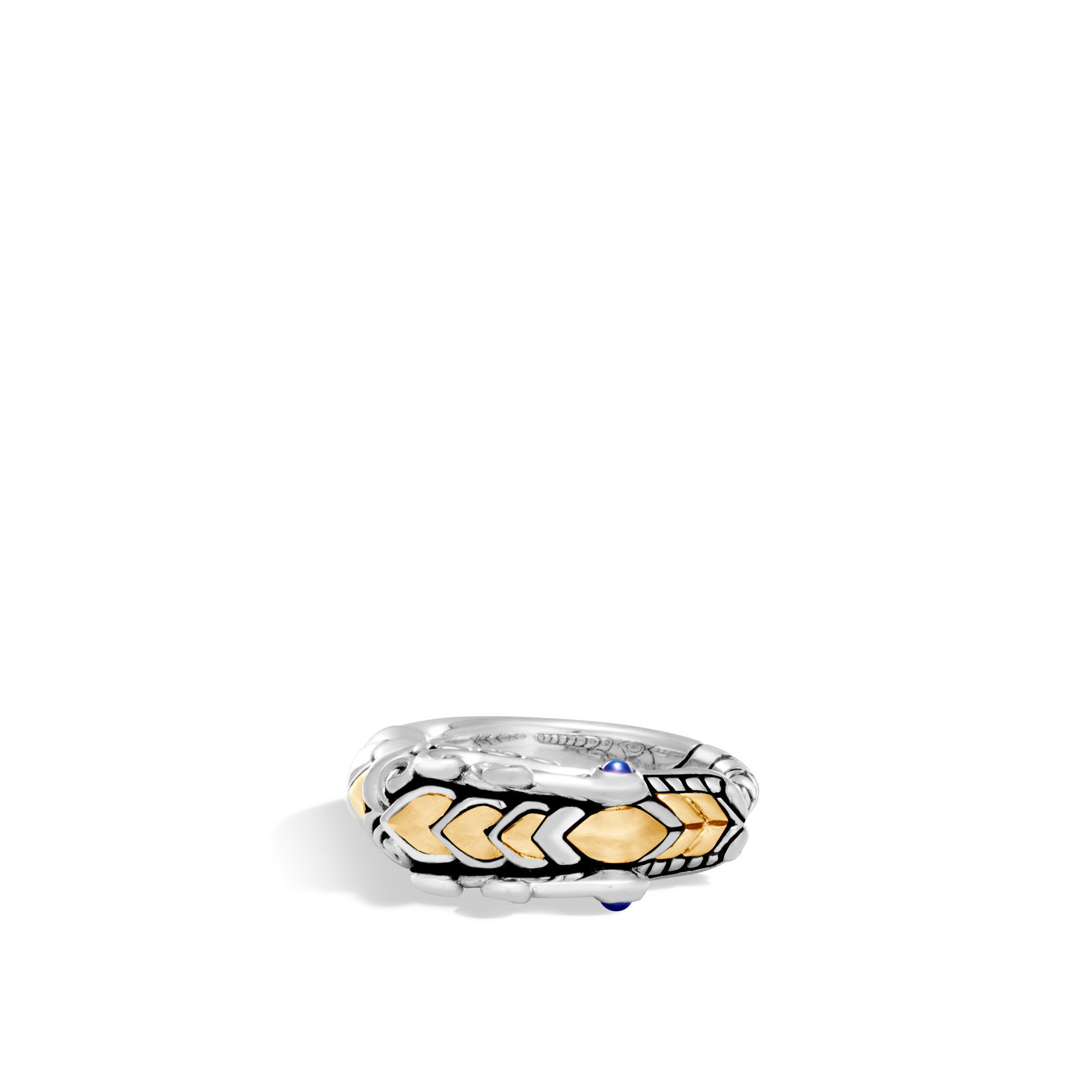 Legends Naga Ring in Brushed Silver and 18K Gold, Blue Sapphire, large