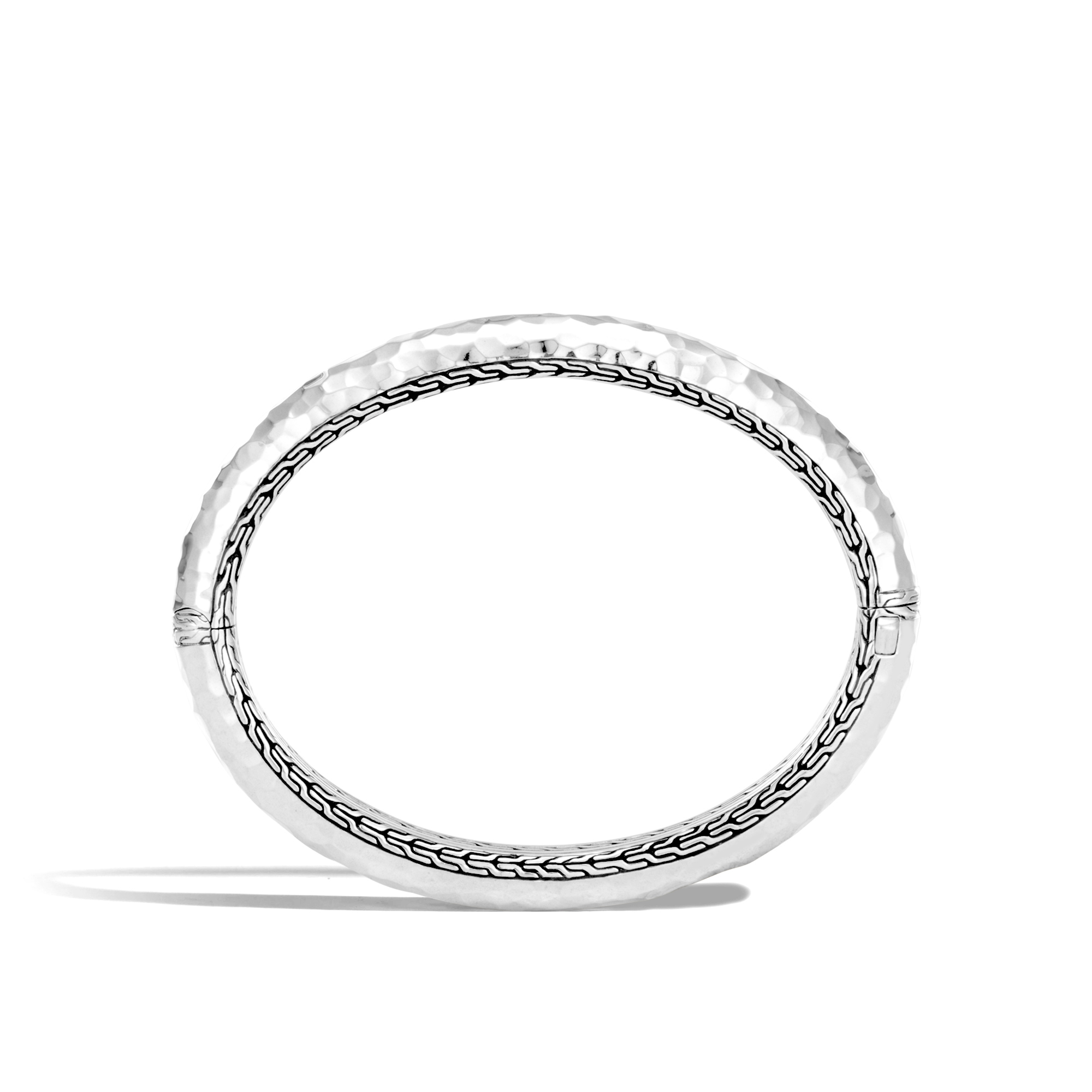 Classic Chain 8.5MM Hinged Bangle in Hammered Silver, , large