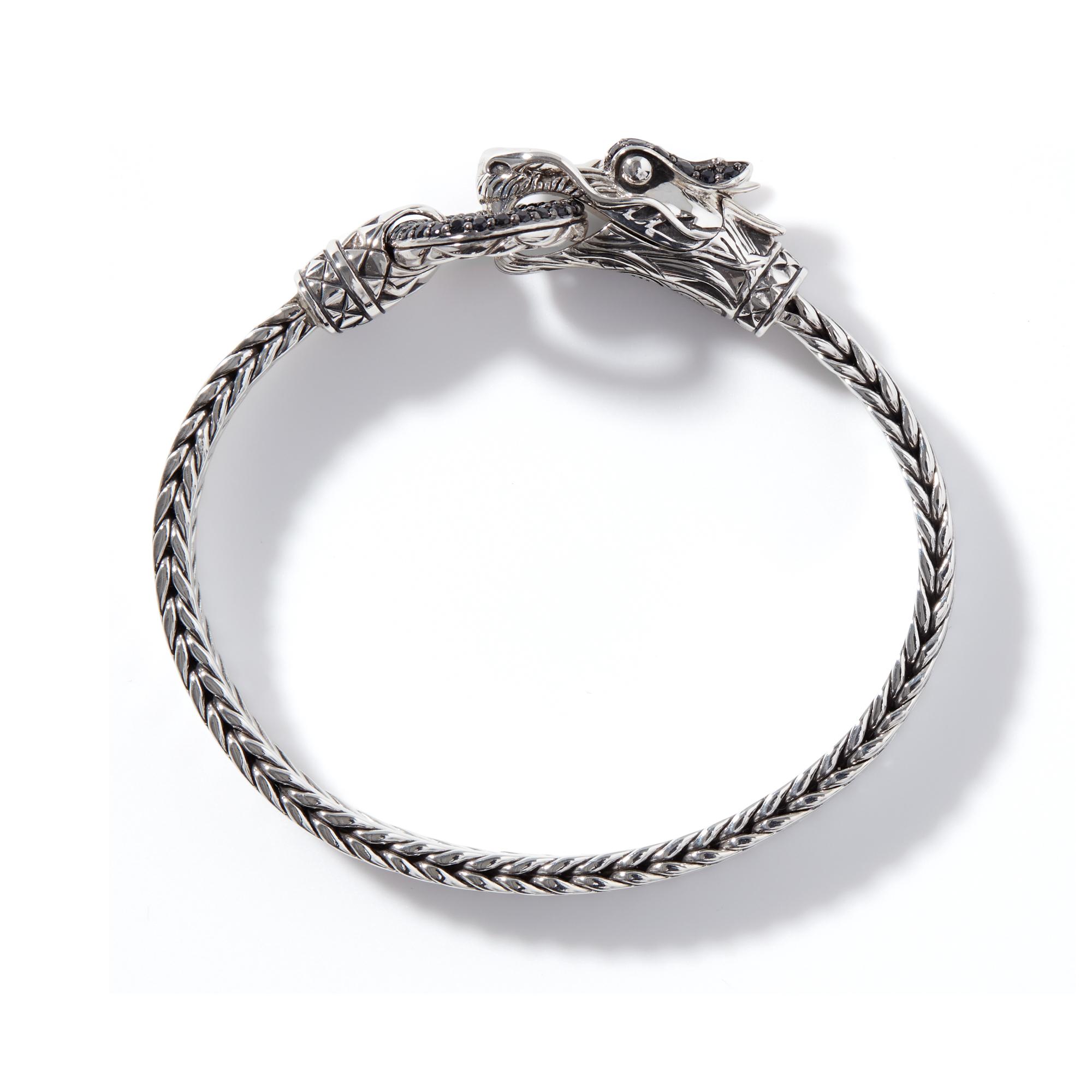 Legends Naga 7MM Station Bracelet in Silver with Gemstone, Black Sapphire, large