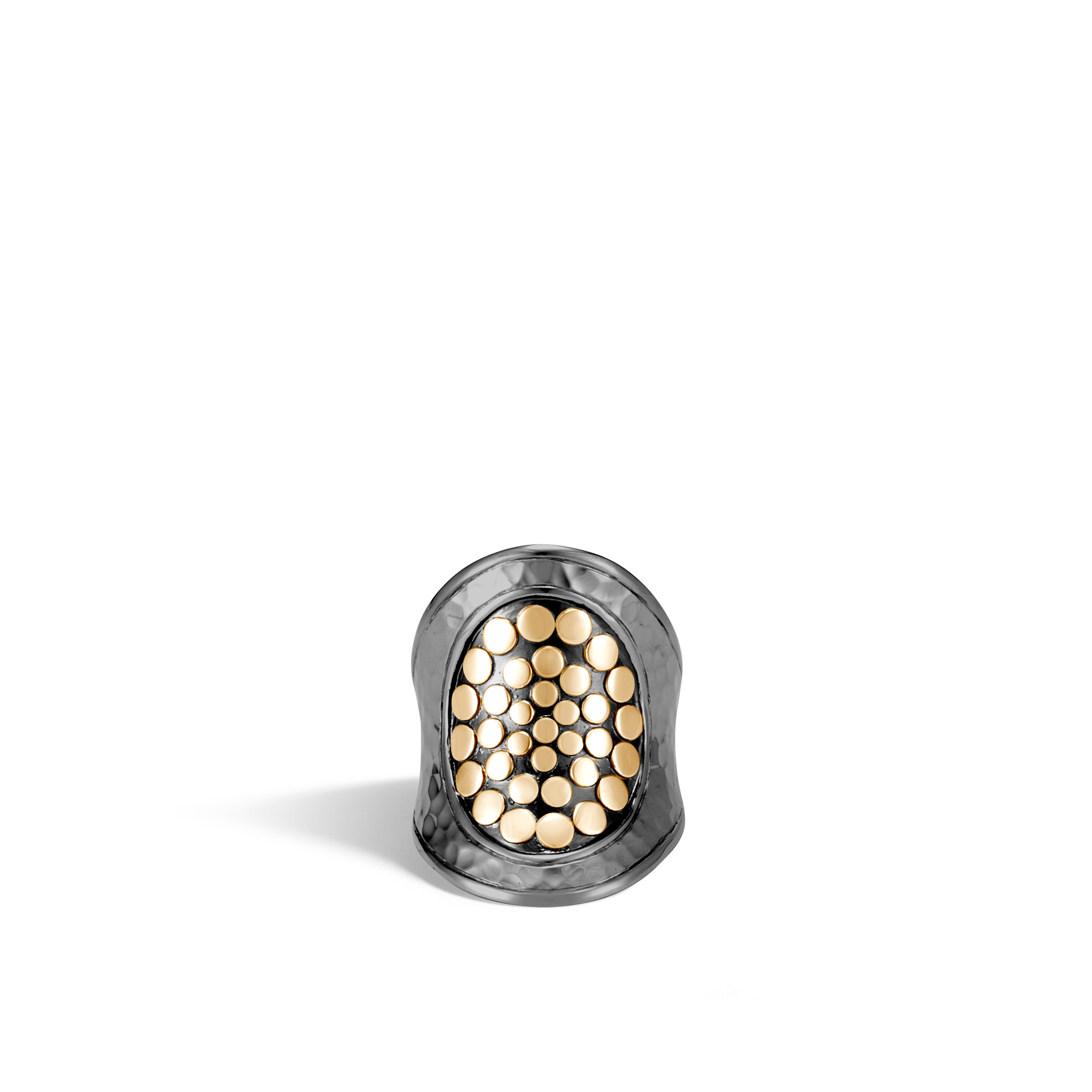 Dot Saddle Ring in Blackened Hammered Silver and 18K Gold, , large