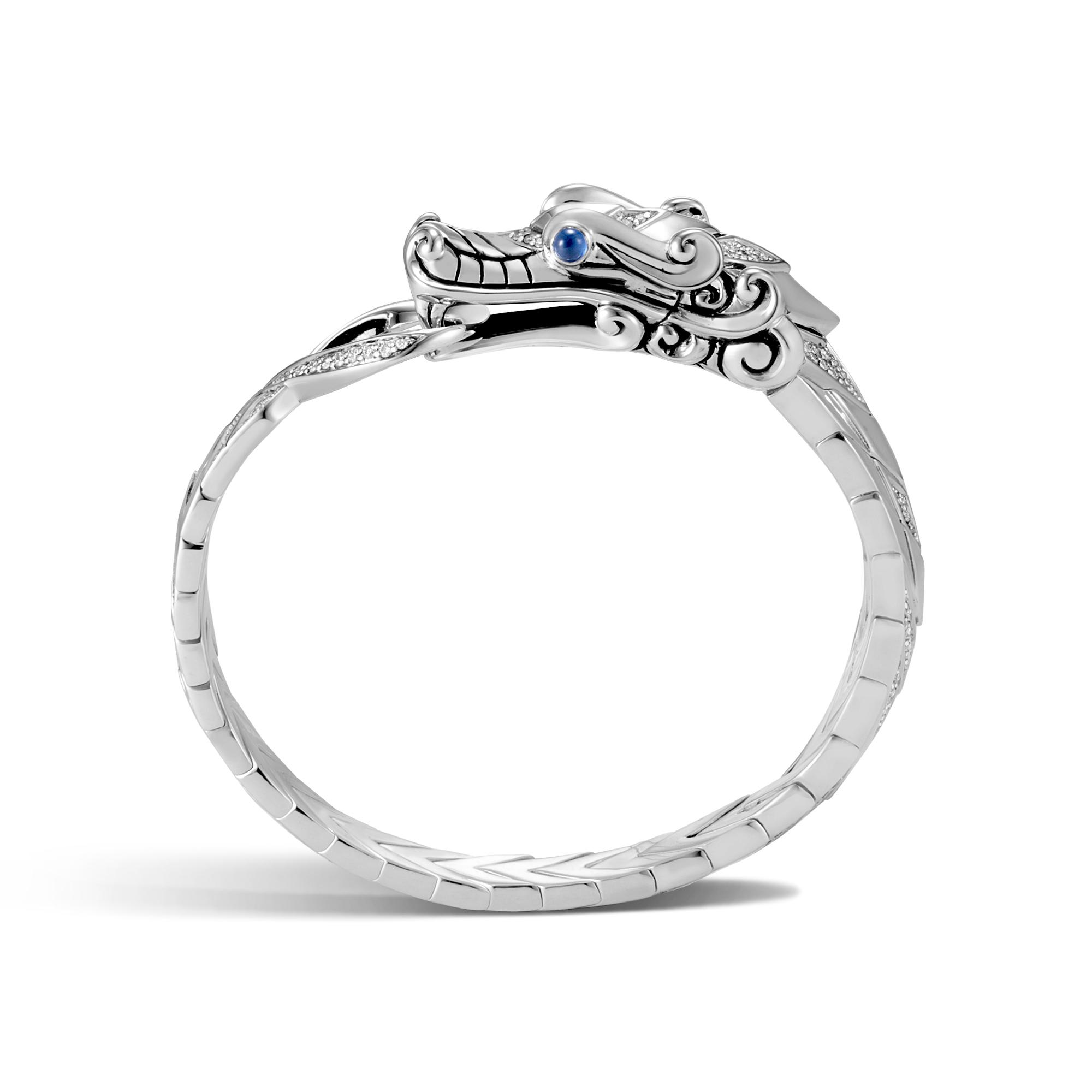Legends Naga Station Bracelet in Silver with Diamonds, White Diamond, large