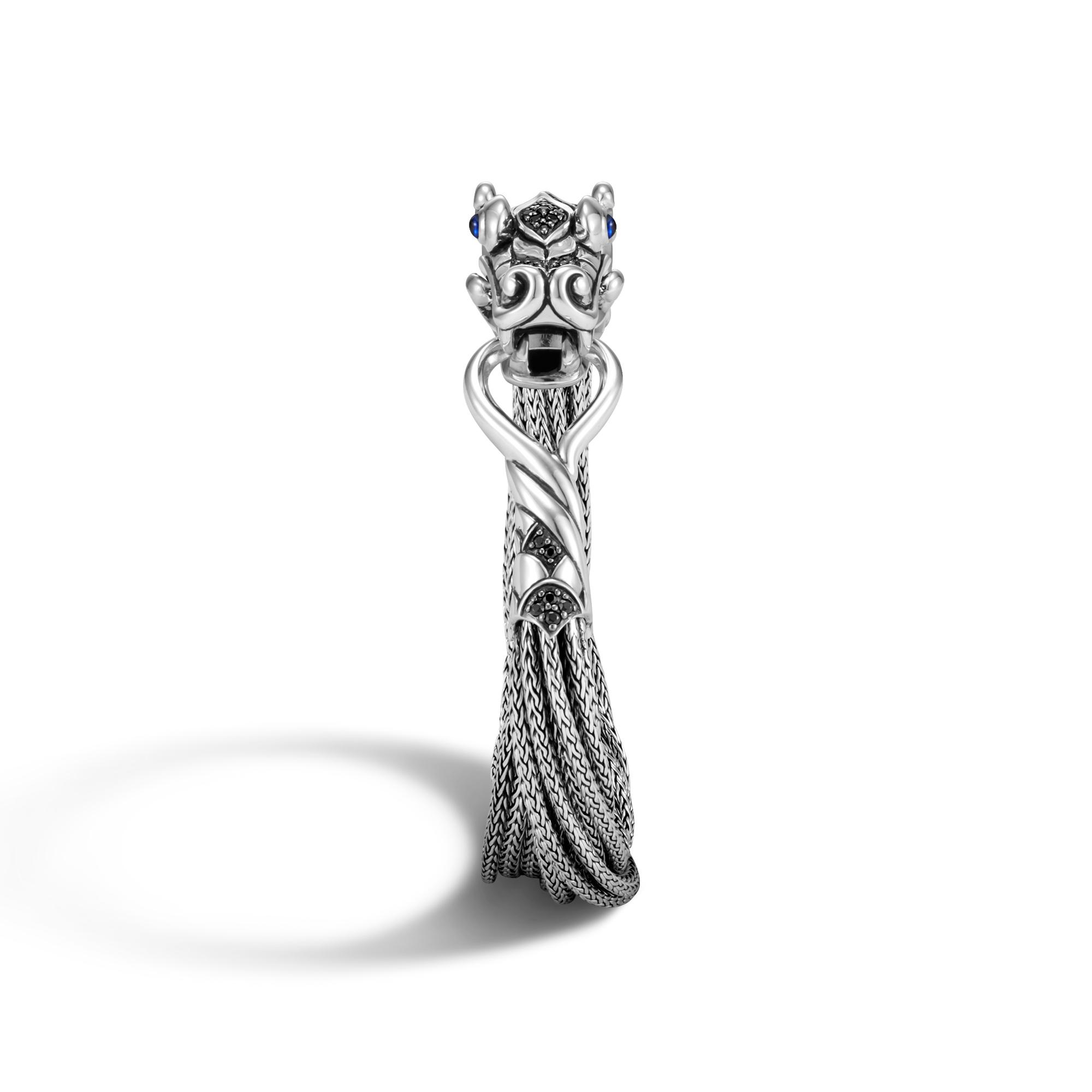 Legends Naga Multi Row Bracelet in Silver with Gemstone, Black Spinel, large