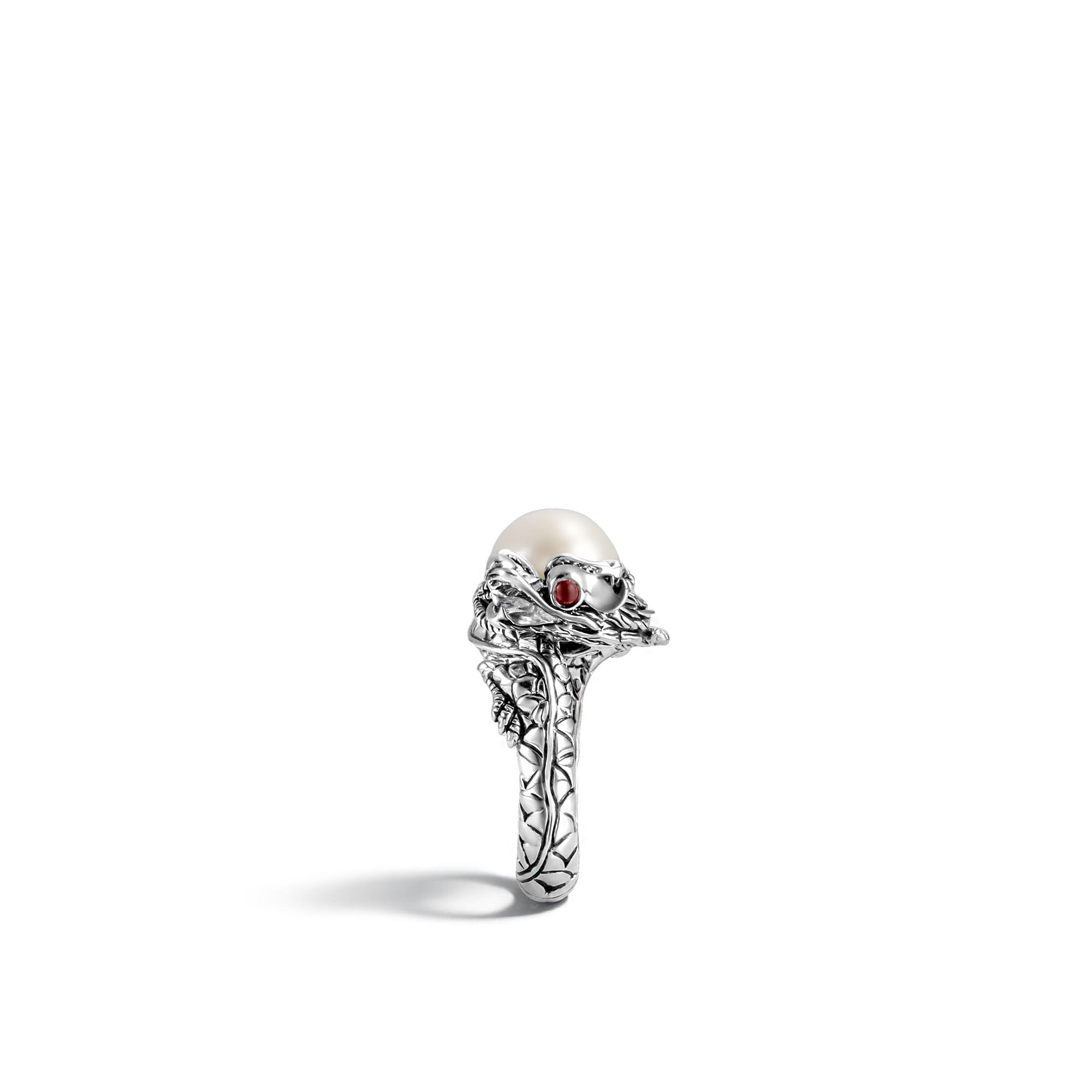 Legends Naga Center Stone Ring in Silver, Pearl and Gemstone, White Fresh Water Pearl, large