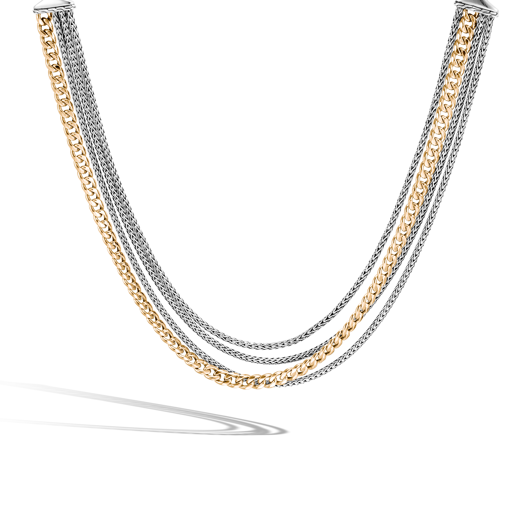 AAxJH Classic Chain Multi Row Necklace in Silver and 18K Gold, , large