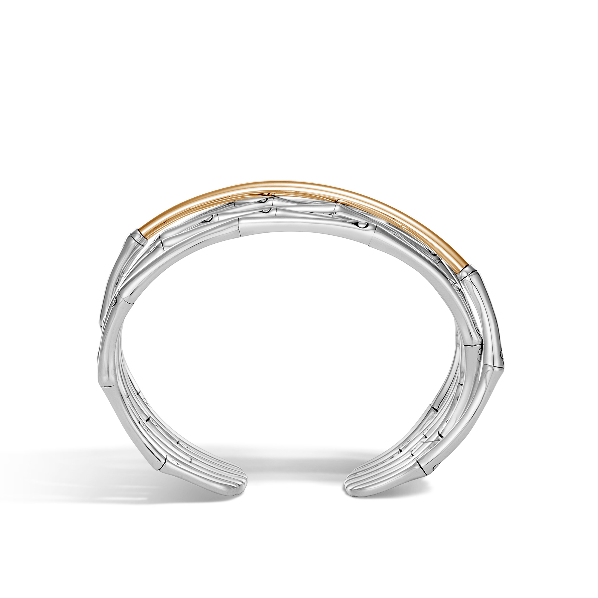 Bamboo Cuff in Silver and 18K Gold, , large