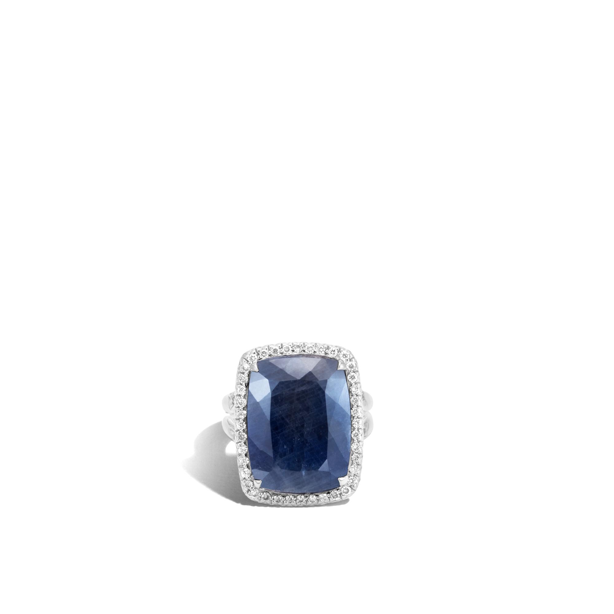 Classic Chain Magic Cut Ring, Silver, 20x15MM Gems, Diamonds, Blue Sapphire, large