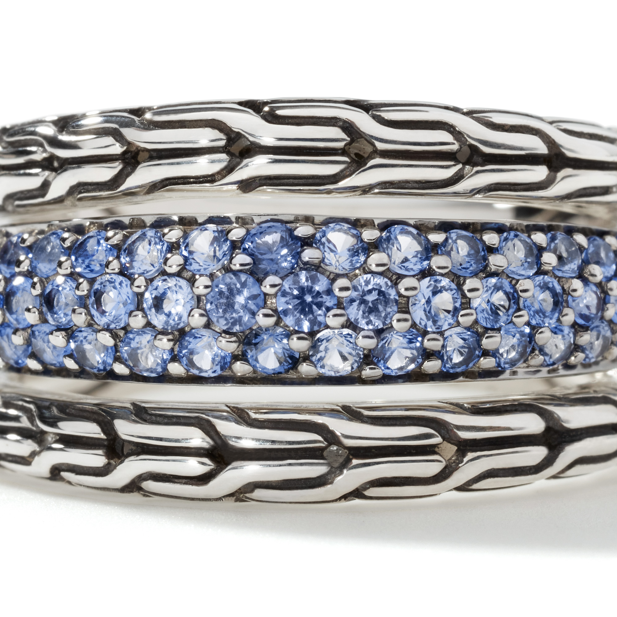 Classic Chain Ring in Silver with Gemstone, Blue Sapphire, large
