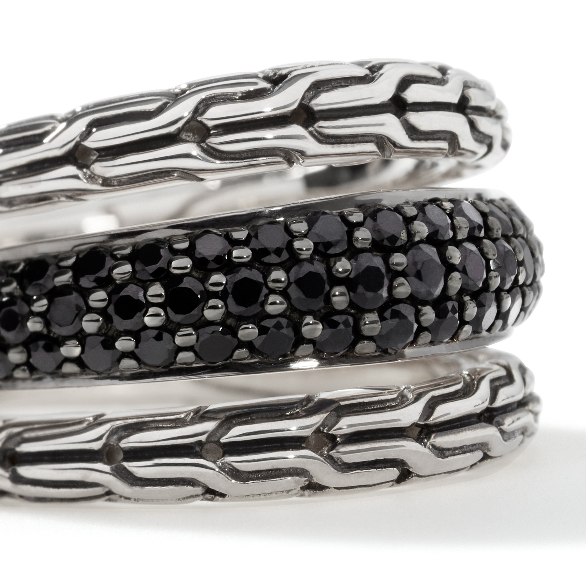Classic Chain Ring in Silver with Gemstone, Black Spinel, large