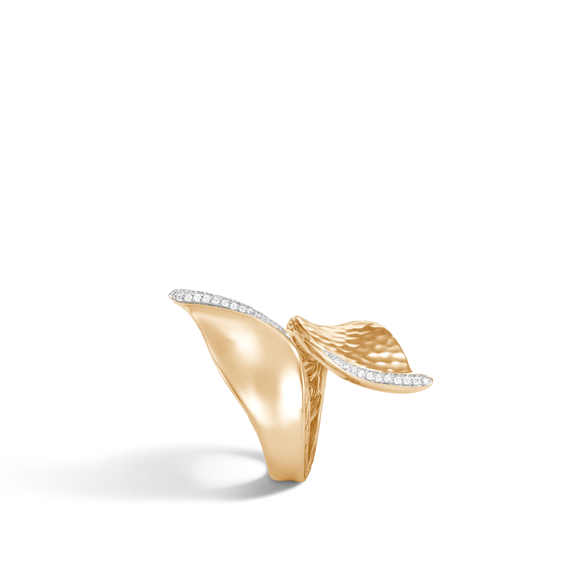 Classic Chain Wave Bypass Ring, Hammered 18K Gold, Diamonds, White Diamond, large