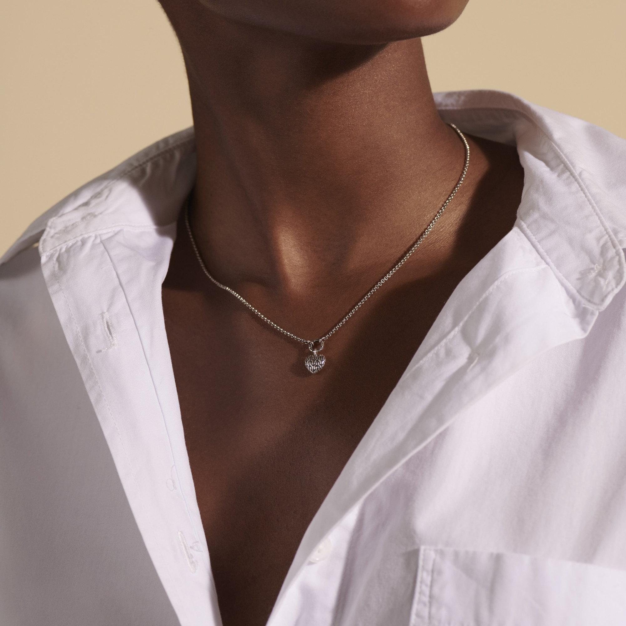 Classic Chain Heart Pendant Necklace in Silver, , modelview