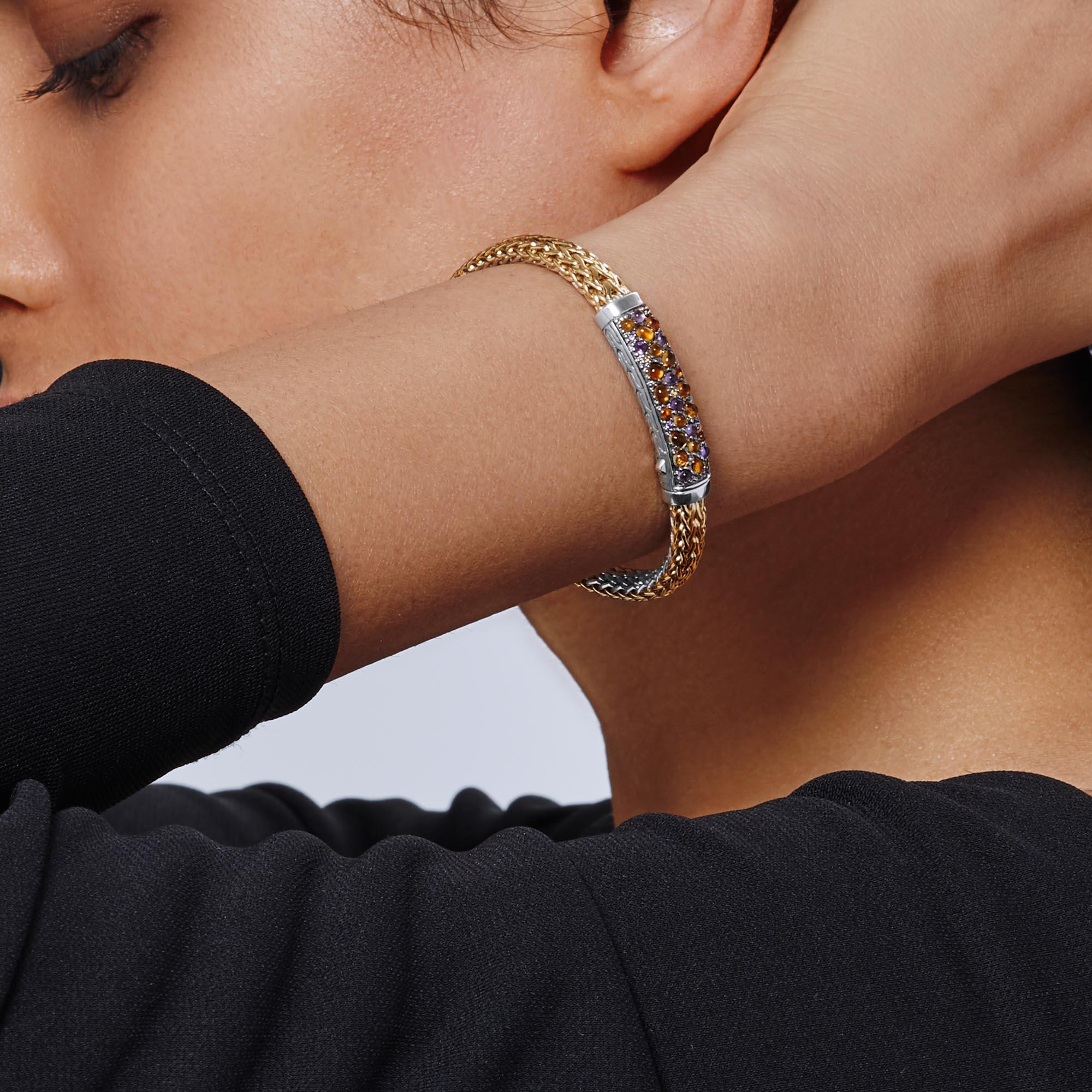Classic Chain 6.5MM Station Bracelet in Silver, 18K Gold, Gem, Amethyst, large
