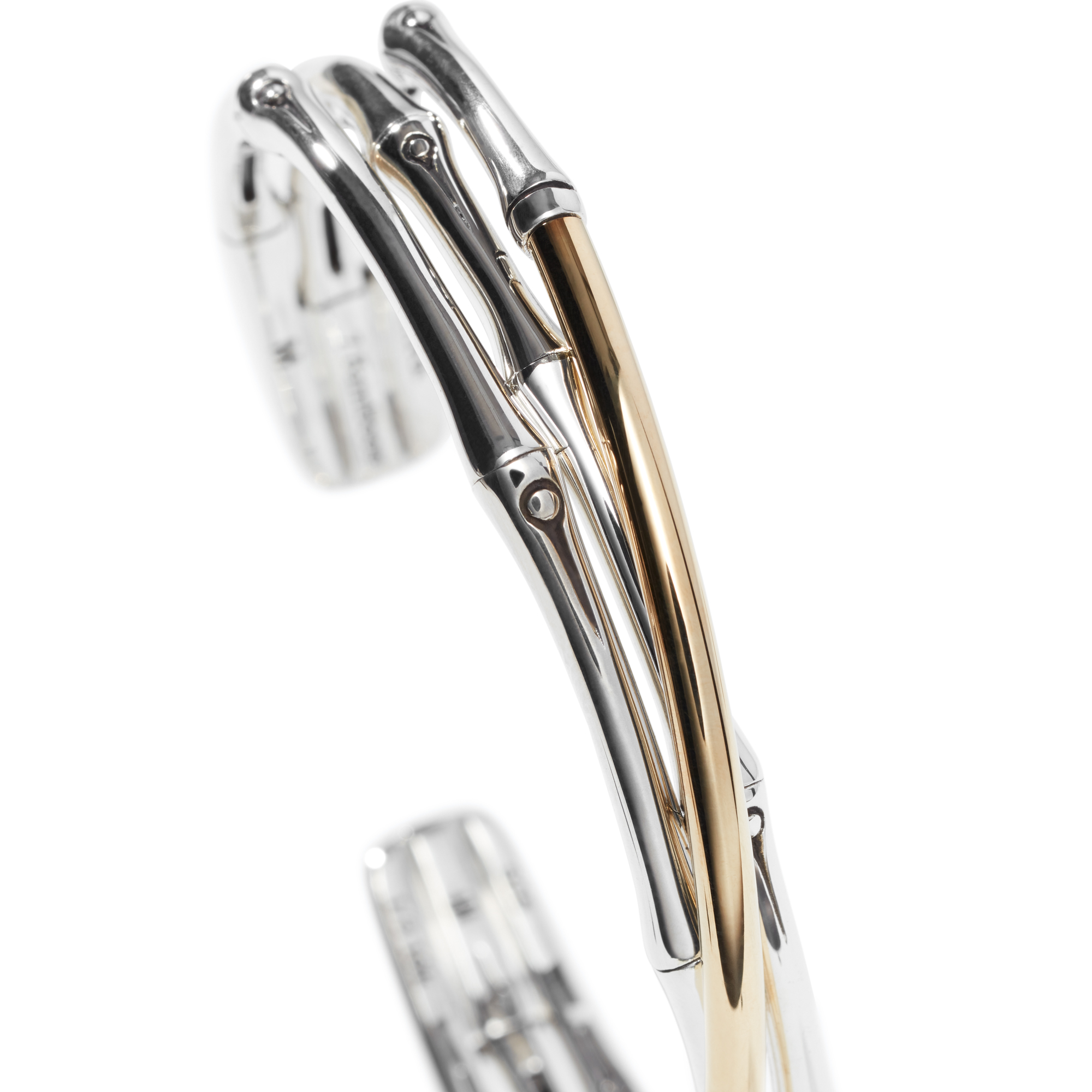 Bamboo 12MM Cuff in Silver and 18K Gold, , large