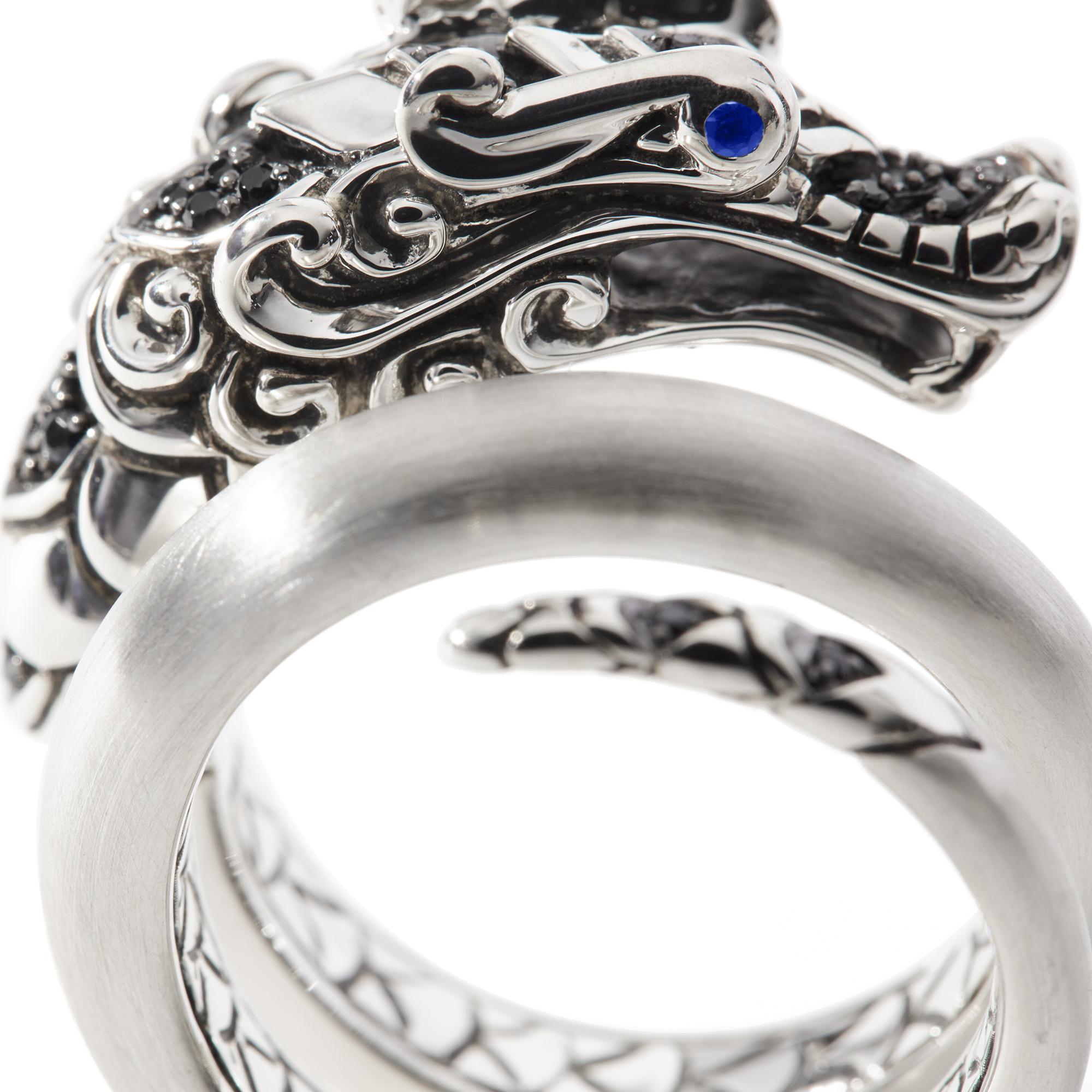 Legends Naga Ring in Brushed Silver with Gemstone, Black Spinel, large
