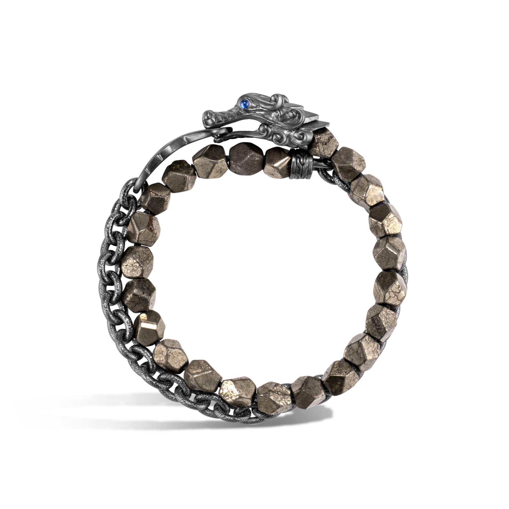 Legends Naga Double Wrap Bracelet, Blackened Silver, 8MM Gem, Blue Sapphire, large