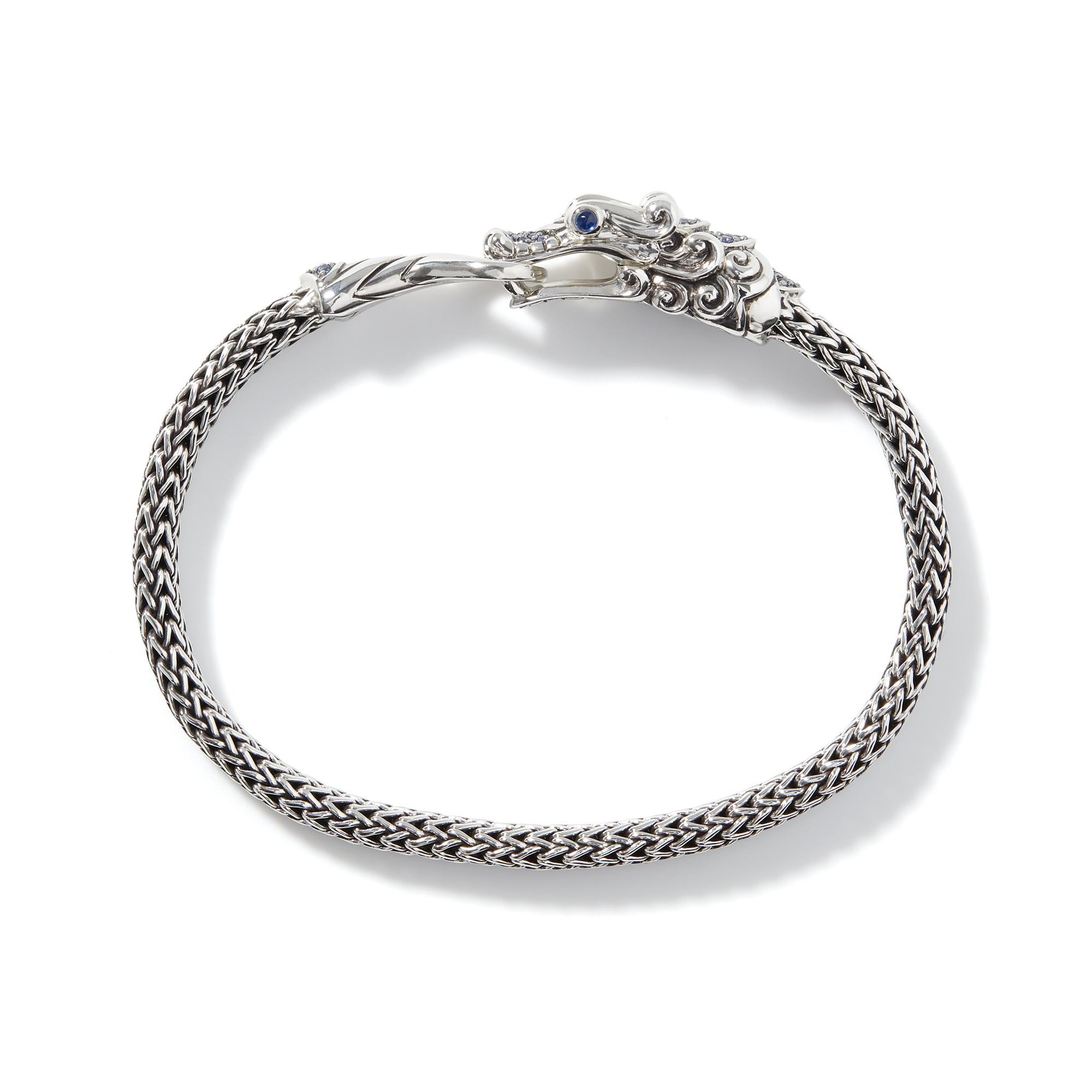 Legends Naga 5MM Station Bracelet in Silver with Gemstone, Blue Sapphire, large