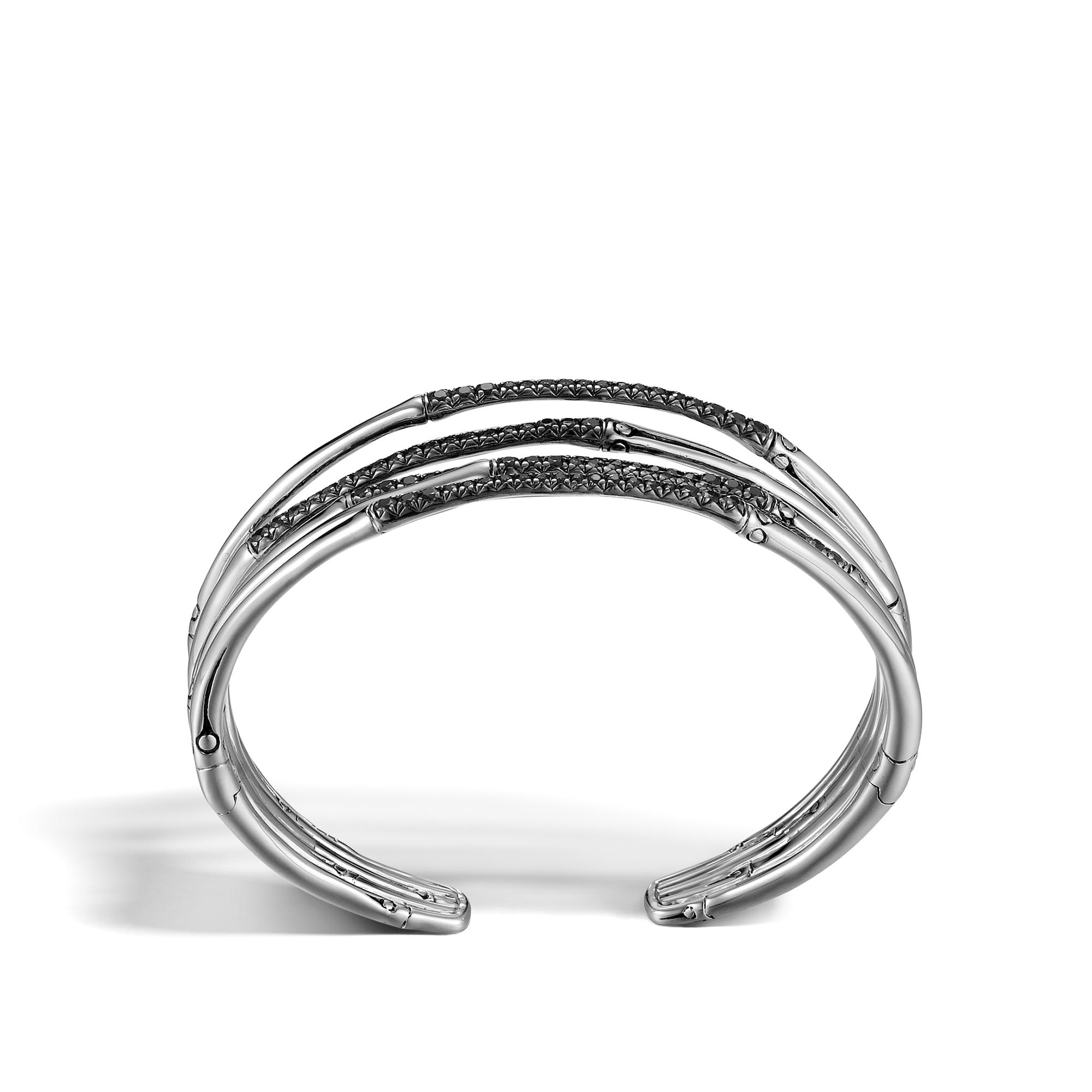 Bamboo 19MM Cuff in Silver with Gemstone, Black Sapphire, large