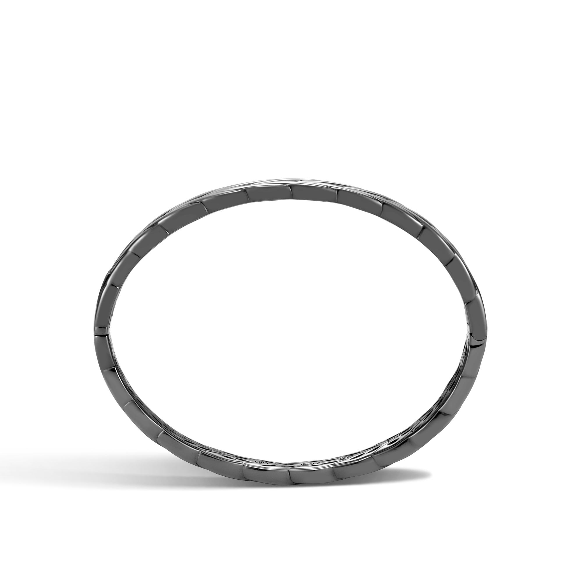 Modern Chain 8MM Hinged Bangle in Blackened Silver, , large