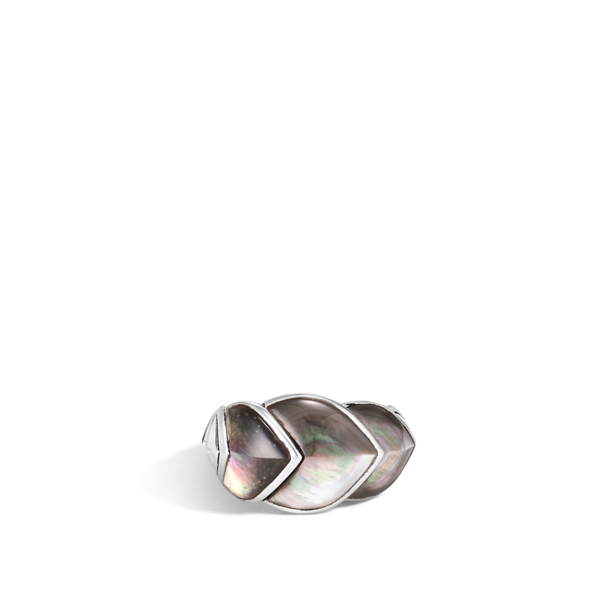 Legends Naga 15MM Ring in Silver with Gemstone, Grey Mother of Pearl, large