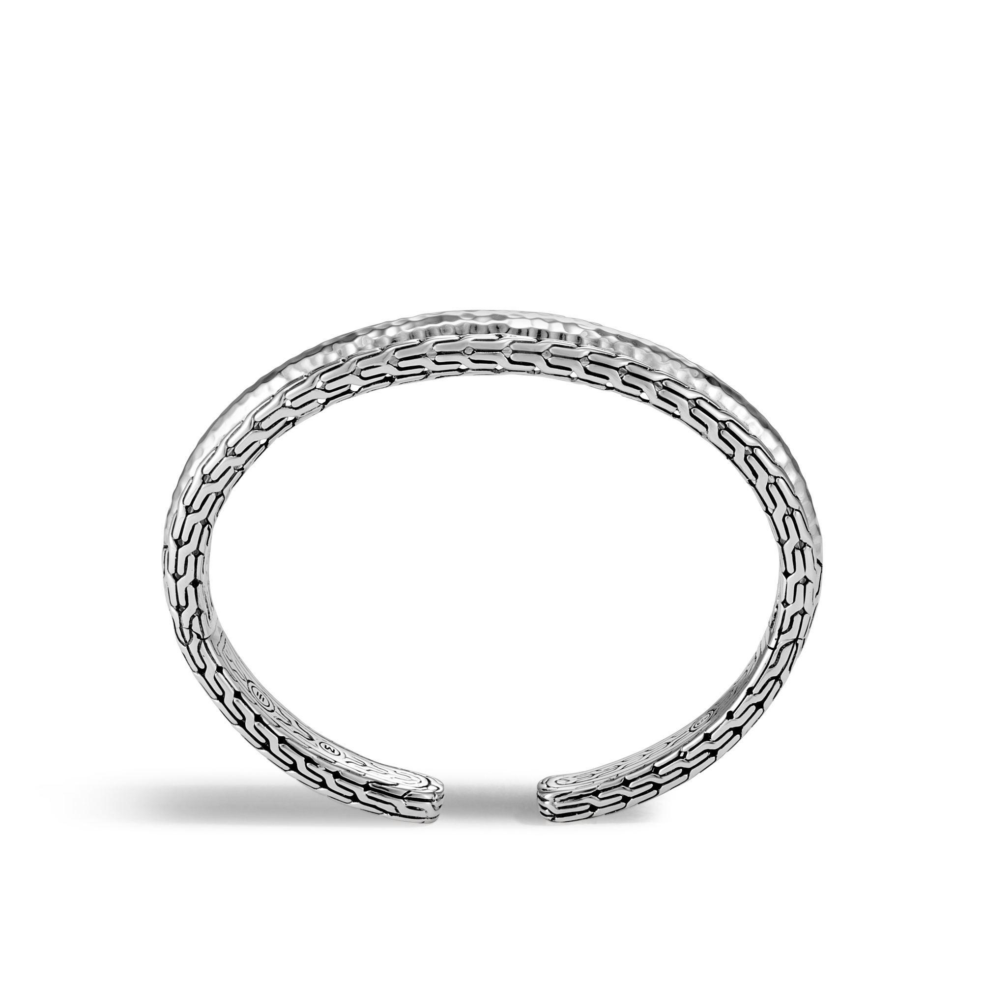 Classic Chain 15MM Cuff in Hammered Silver, , large