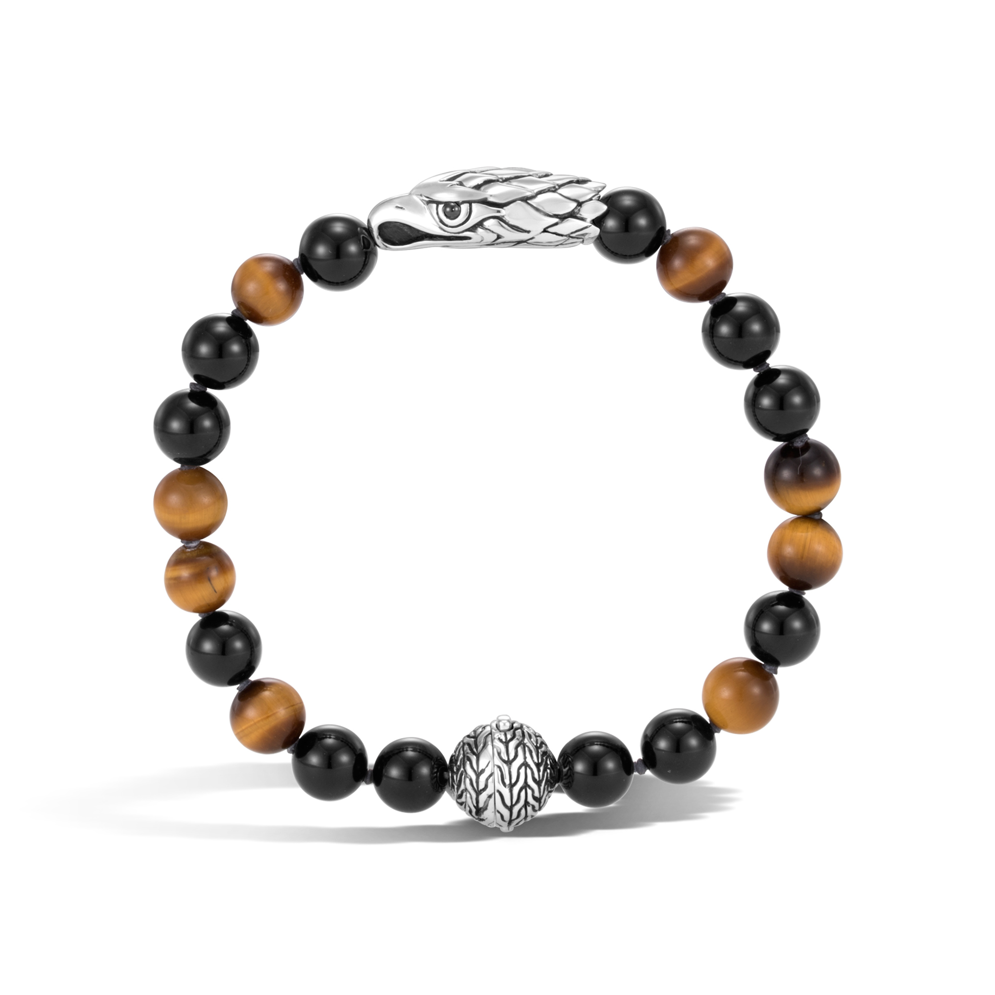 Legends Eagle Bead Bracelet in Silver with Gemstone, Brown Tiger Eye, large