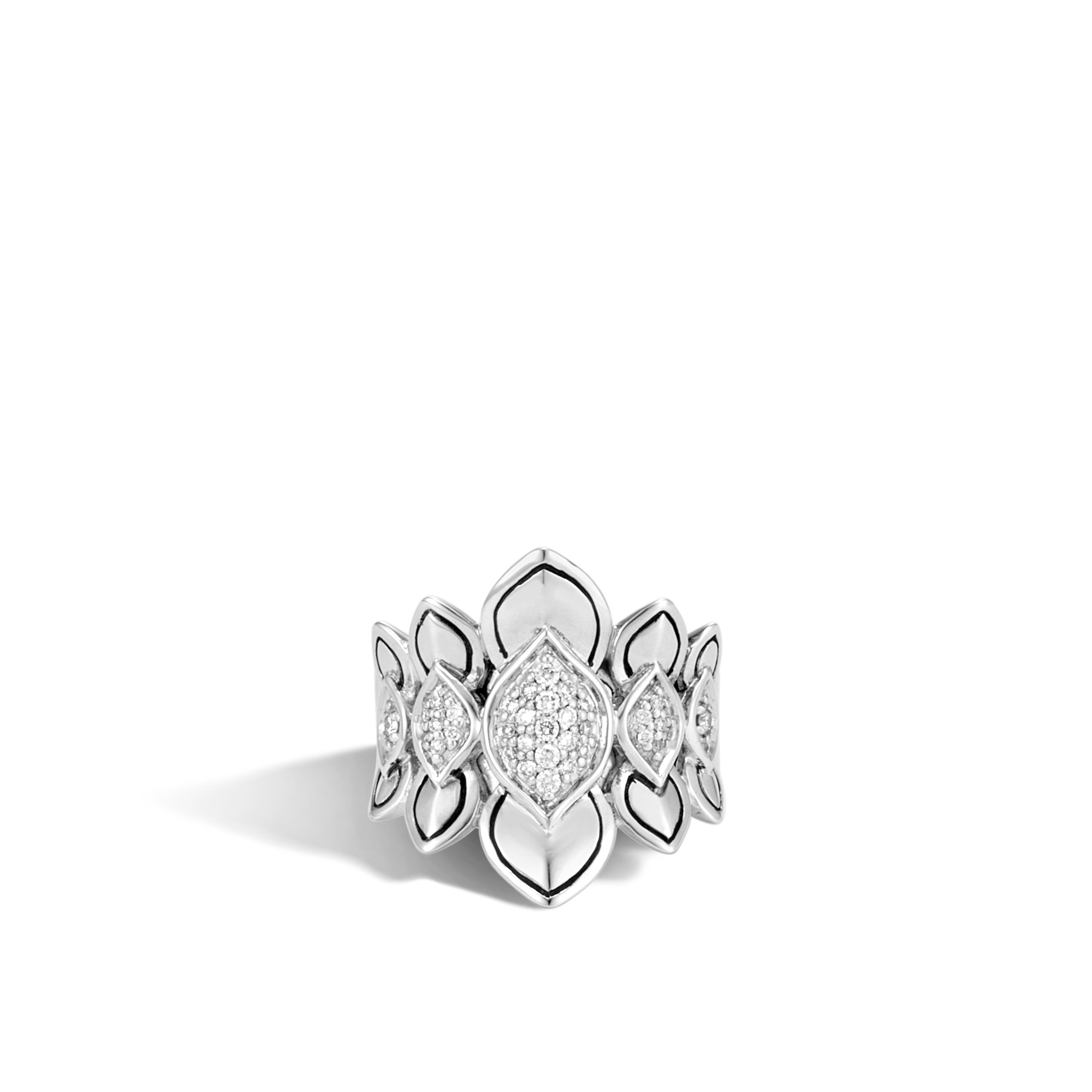 Legends Naga Saddle Ring in Silver with Diamonds, White Diamond, large