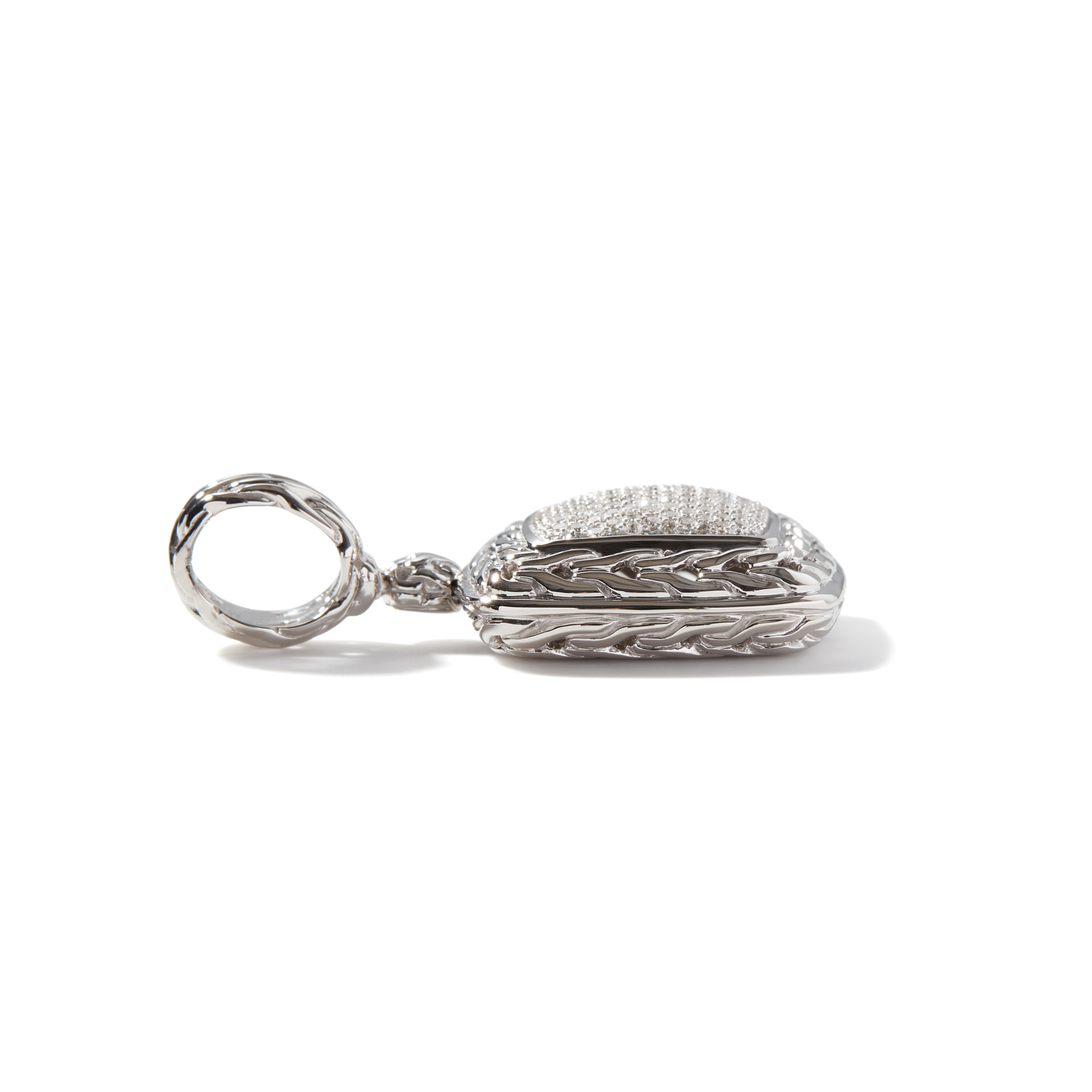 Classic Chain Enhancer in Silver with Diamonds, White Diamond, large