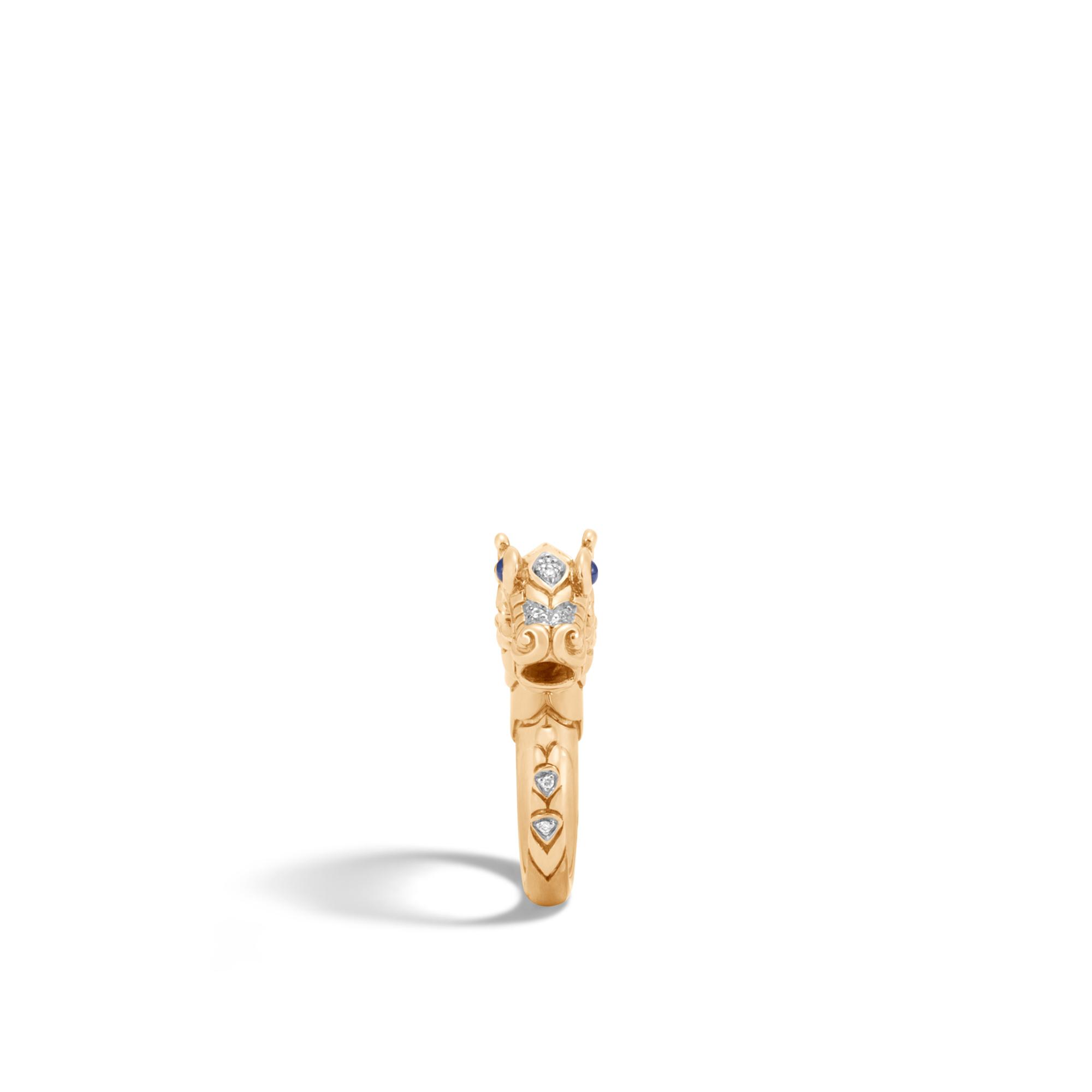 Legends Naga Ring in Brushed 18K Gold with Diamonds, White Diamond, large