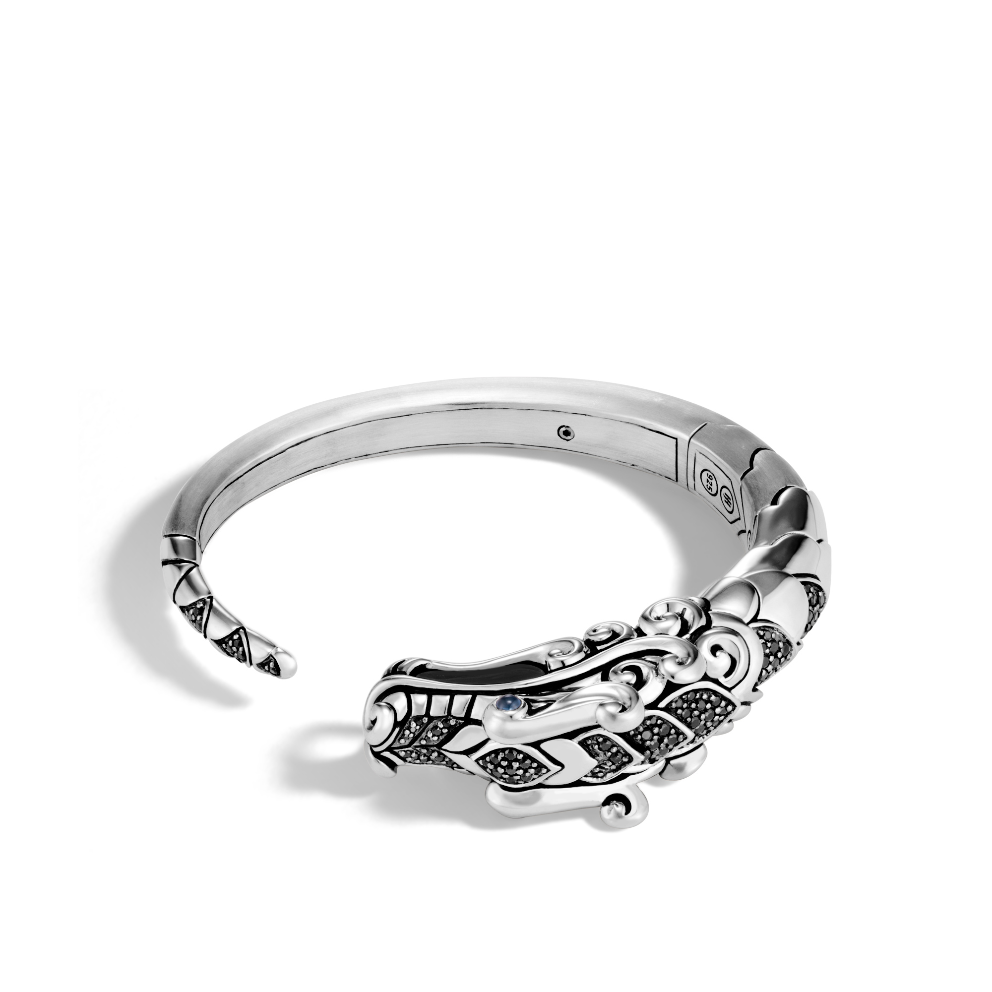 Legends Naga Kick Cuff in Brushed Silver with Gemstone, Black Spinel, large