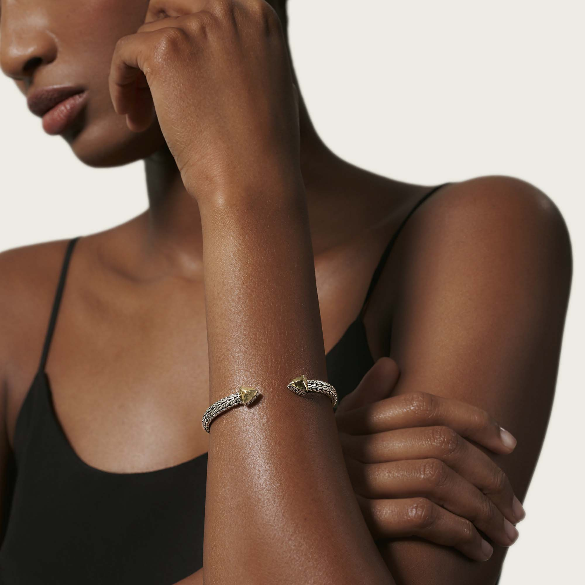 Classic Chain Flex Cuff in Hammered 18K Gold and Silver, , modelview