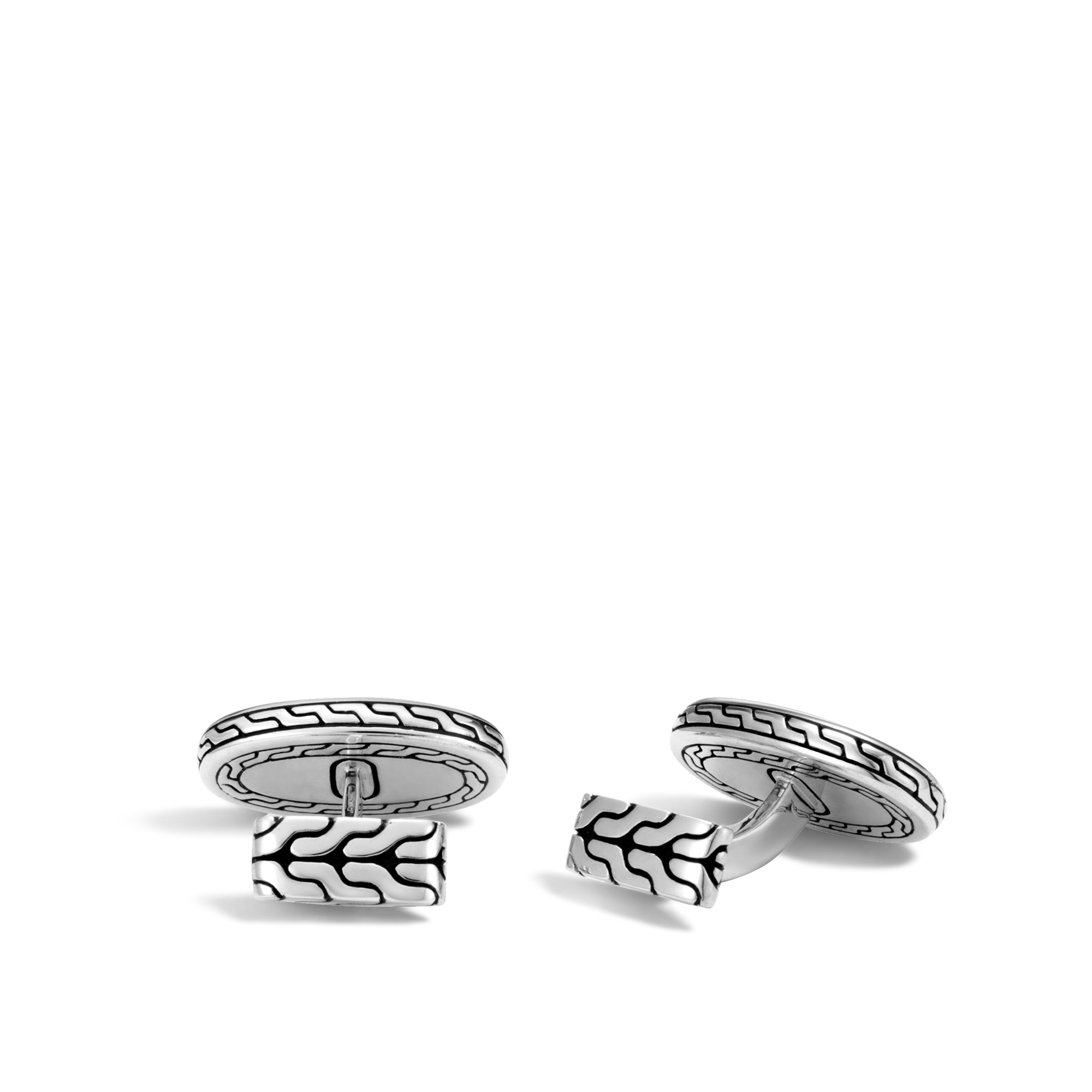 Classic Chain Cufflinks in Hammered Silver, , large