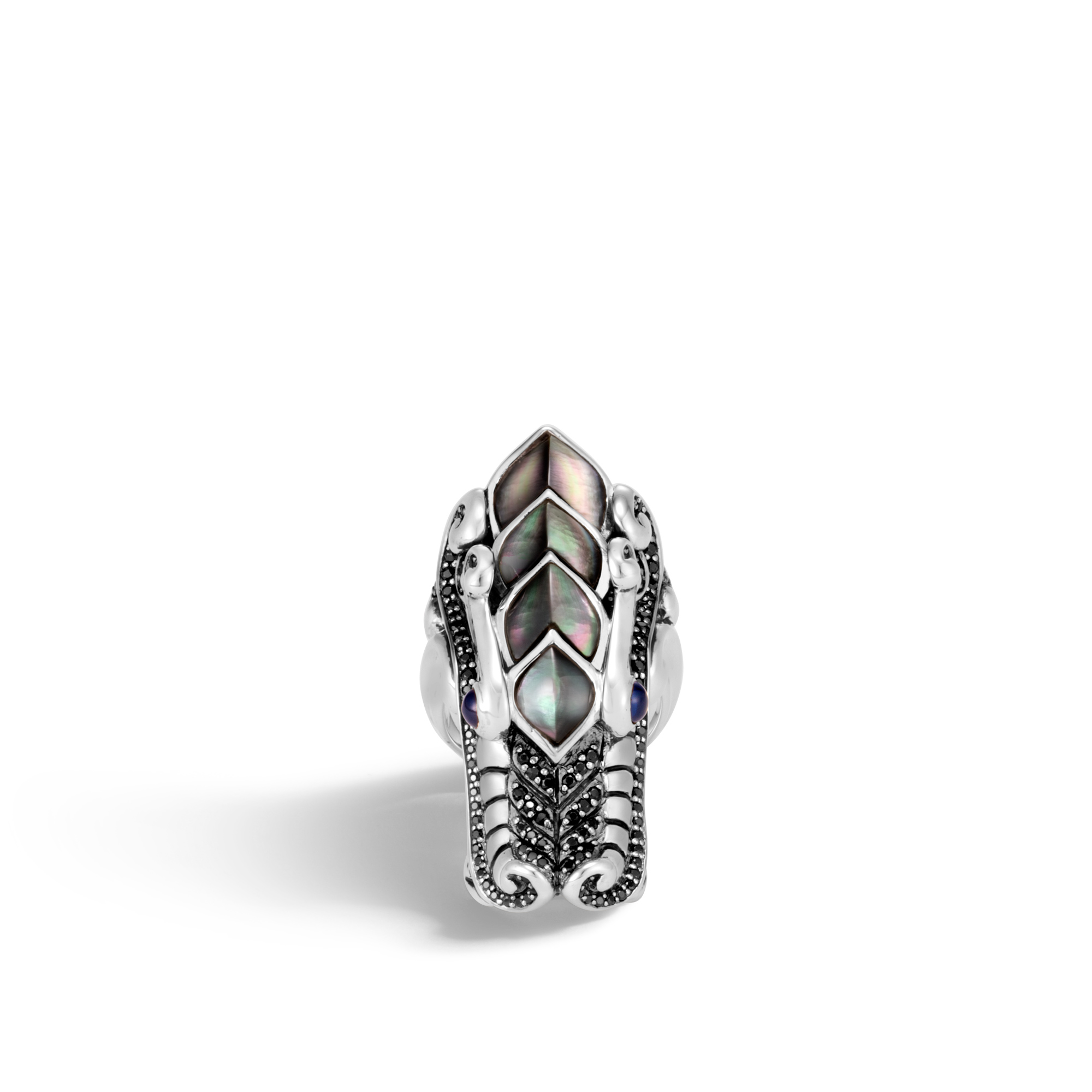 Legends Naga Ring in Silver with Gemstone, Blue Sapphire, large