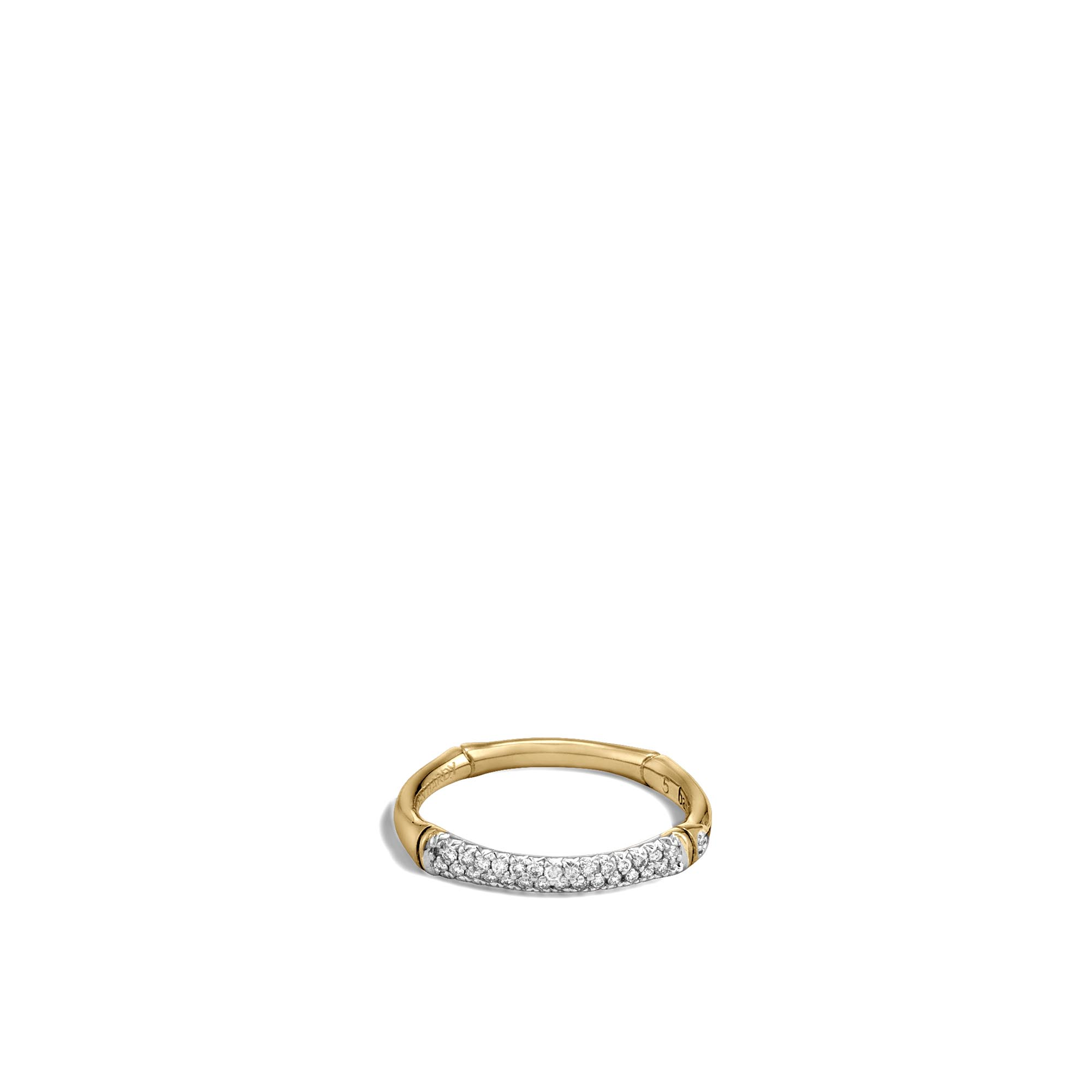 Bamboo 2.5MM Band Ring in 18K Gold with Diamonds, White Diamond, large