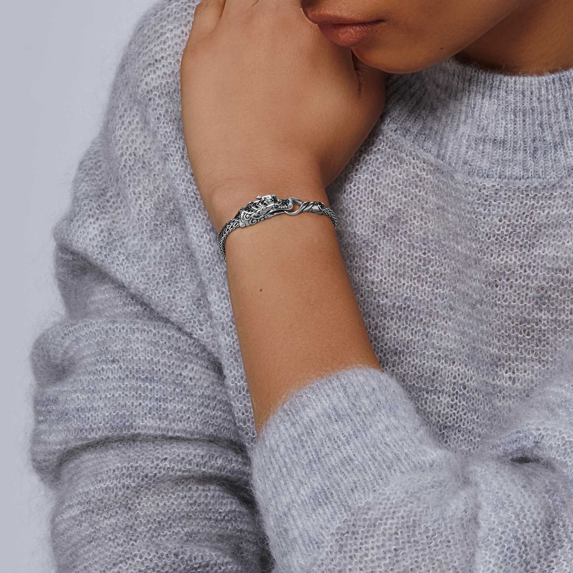 Legends Naga Station Bracelet in Silver , Treated Black Sapphire, modelview