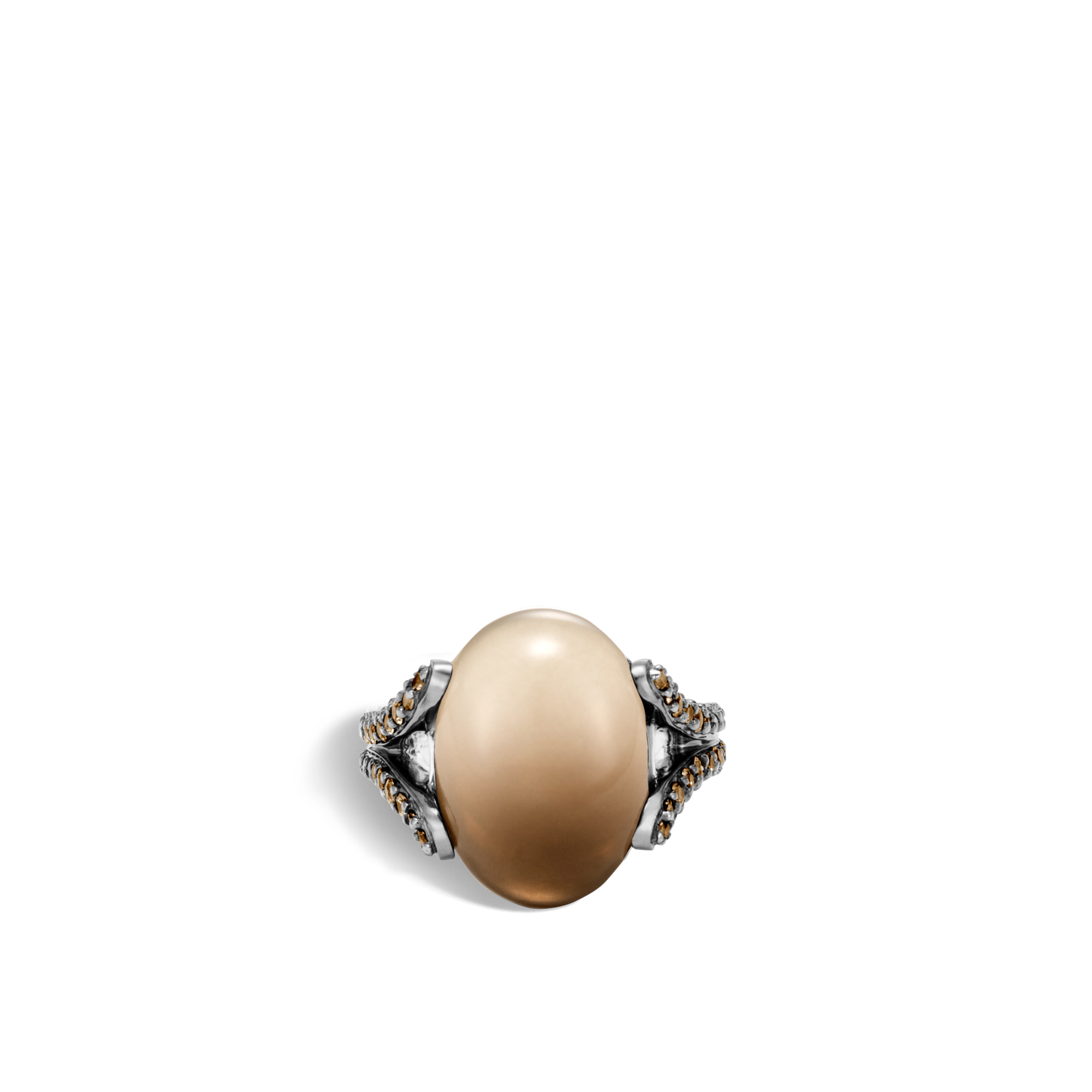 Classic Chain Celestial Orb Ring in Silver, 17x12MM Gemstone, Bicolor Smoky Quartz, large