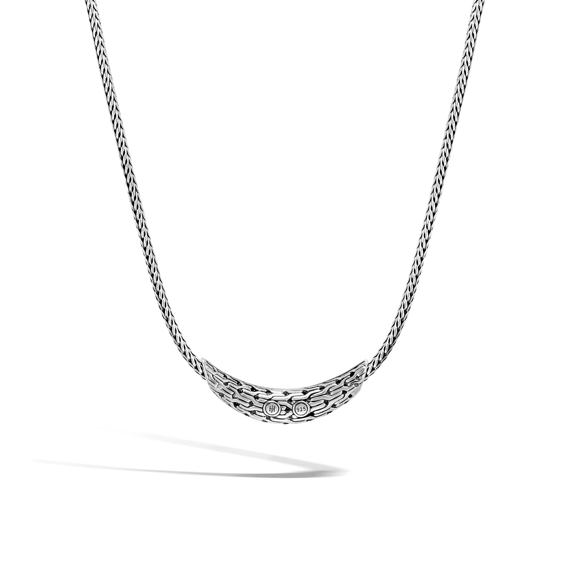 Classic Chain Necklace in Silver with Gemstone, Blue Sapphire, large
