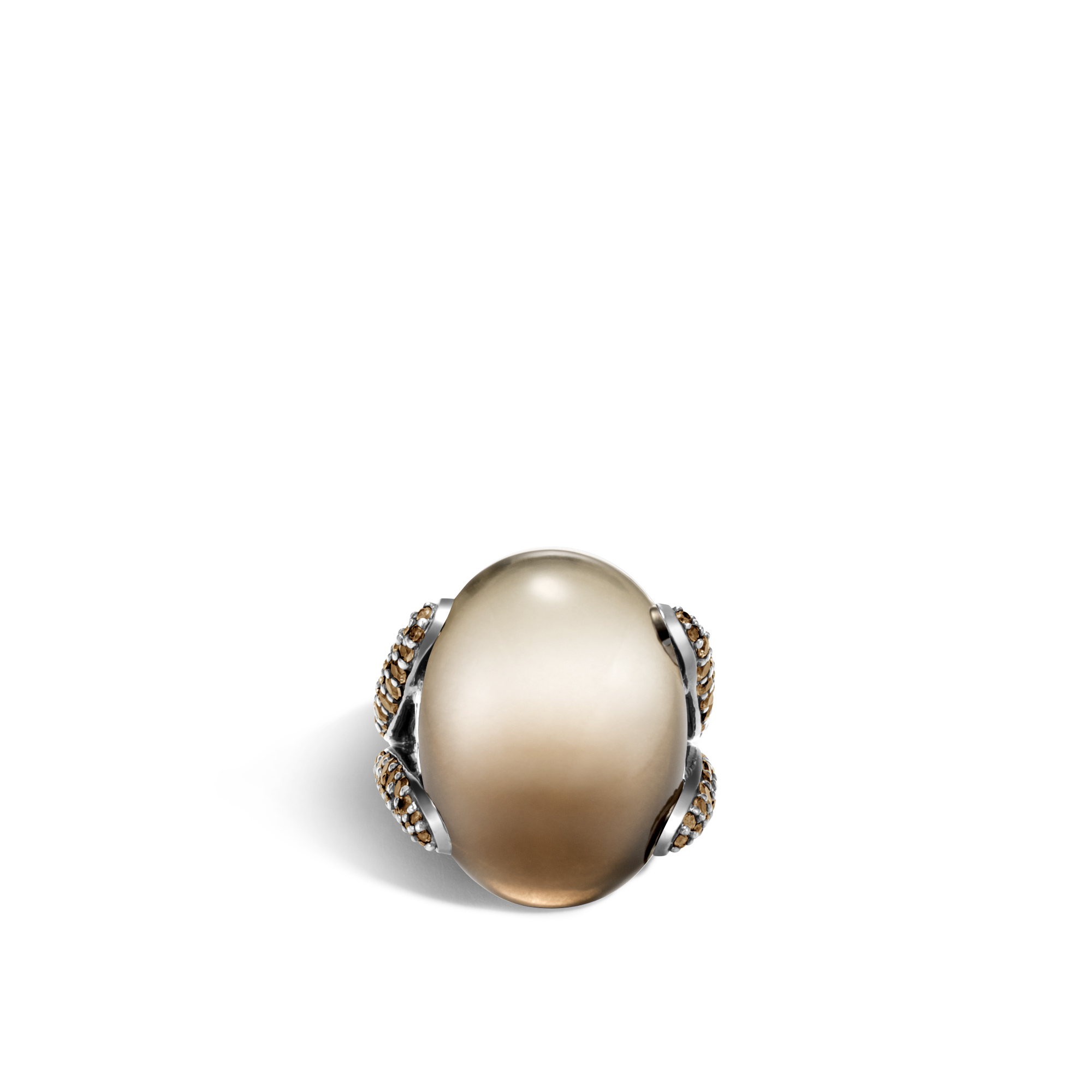 Classic Chain Celestial Orb Ring, Silver, 24x18MM Gemstone, Bicolor Smoky Quartz, large