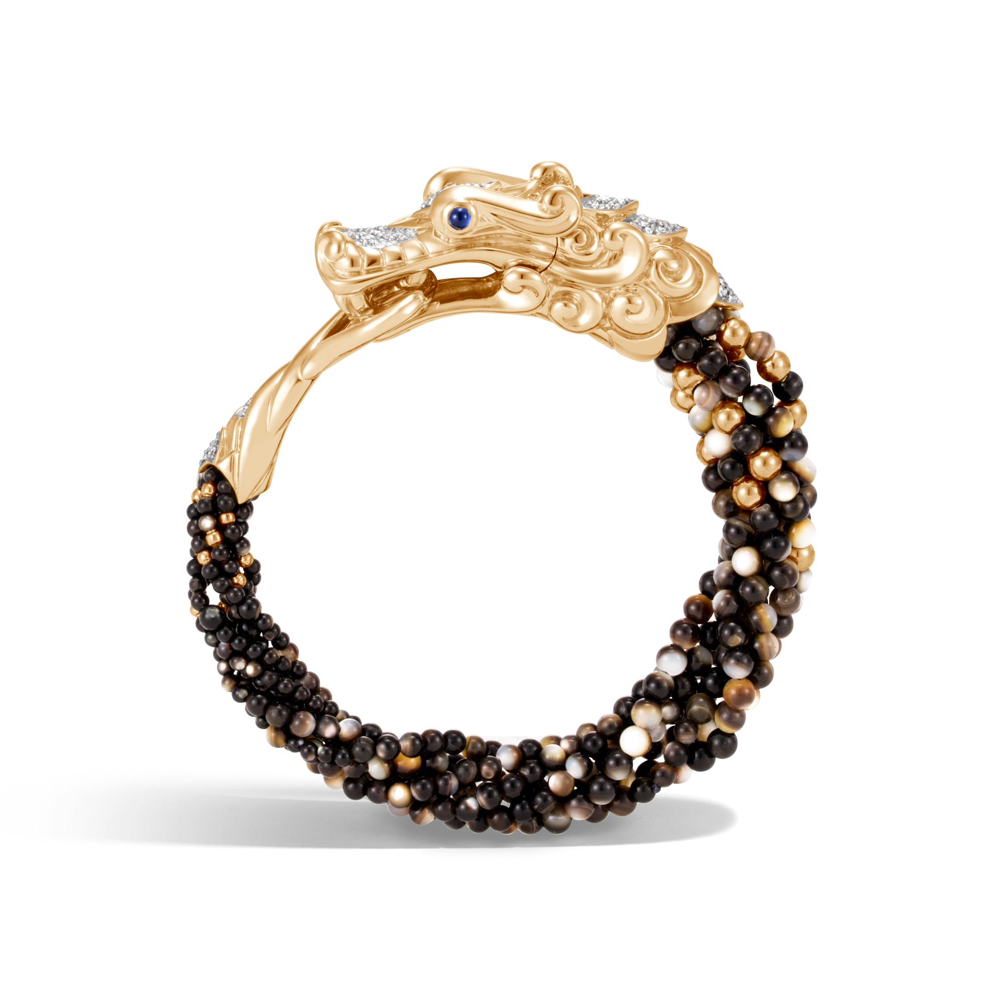 Legends Naga Multi Row Bracelet, 18K Gold, Gemstone and Dia, White Diamond, large
