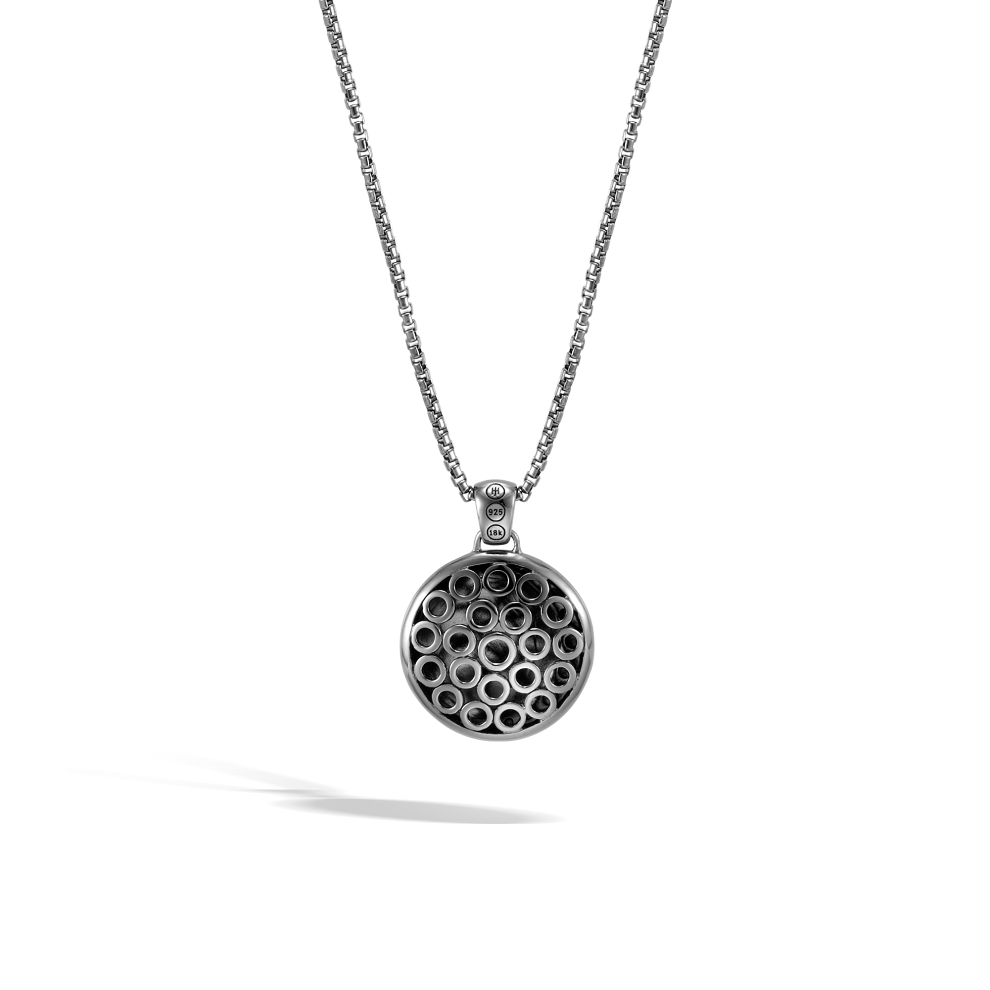 Dot Moon Phase Pendant Necklace, Black Hammered Silver, 18K , , large