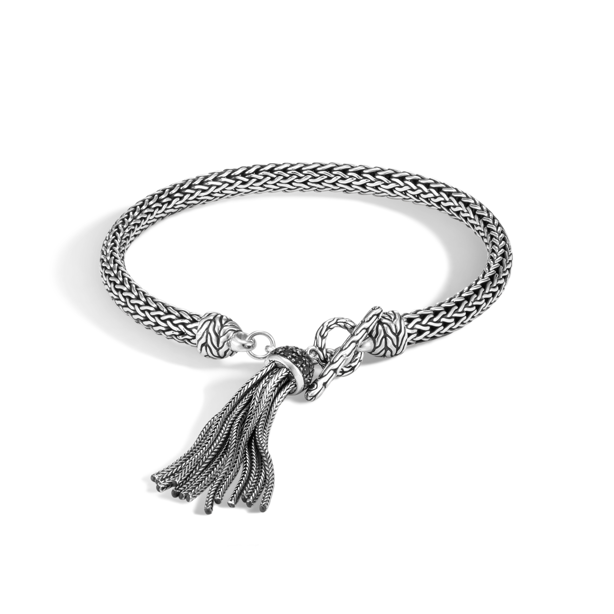 Classic Chain 5MM Tassel Charm Bracelet, Silver with Gemstone, Black Spinel, large