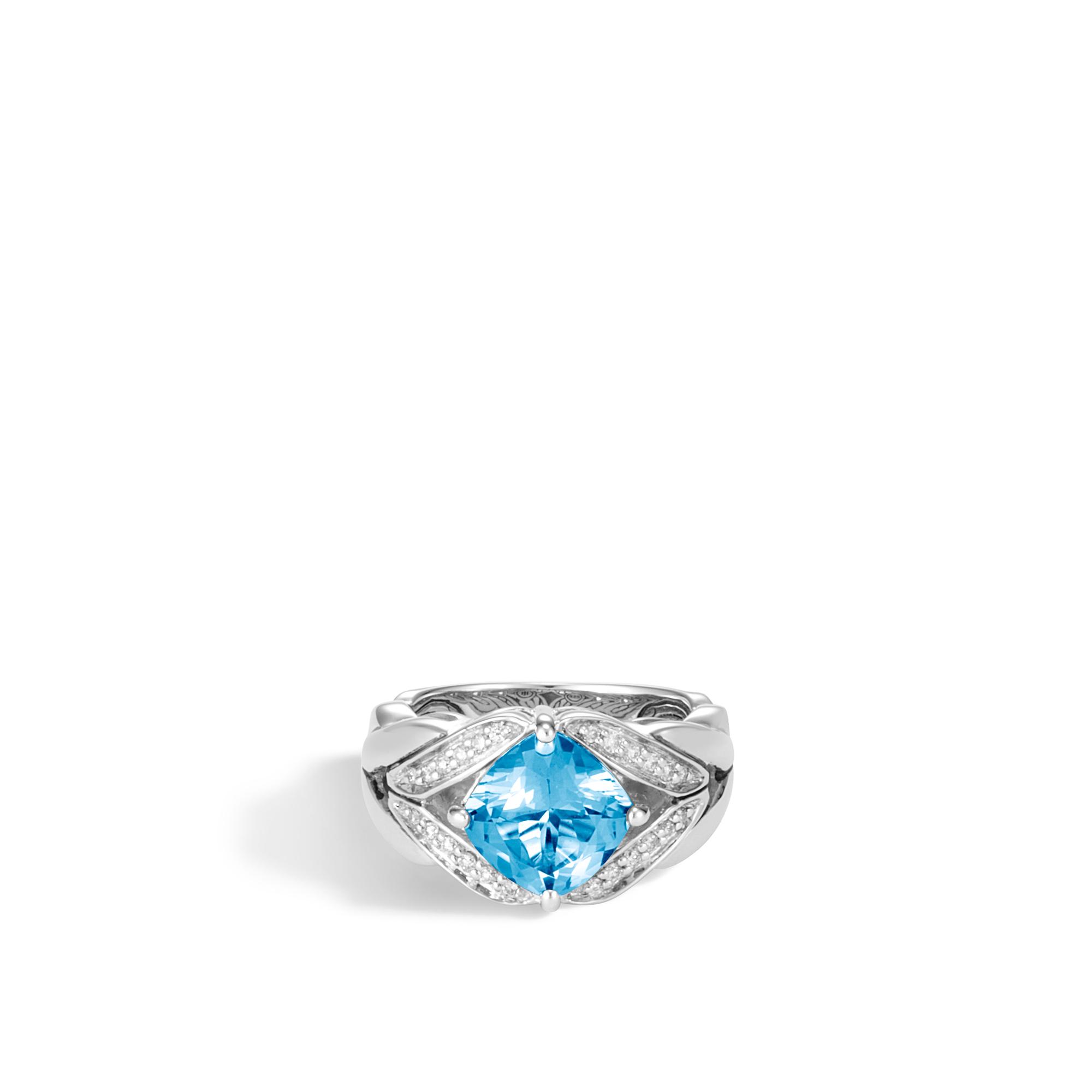 Modern Chain Magic Cut Ring, Silver, 9MM Gemstone, Diamonds, London Blue Topaz, large