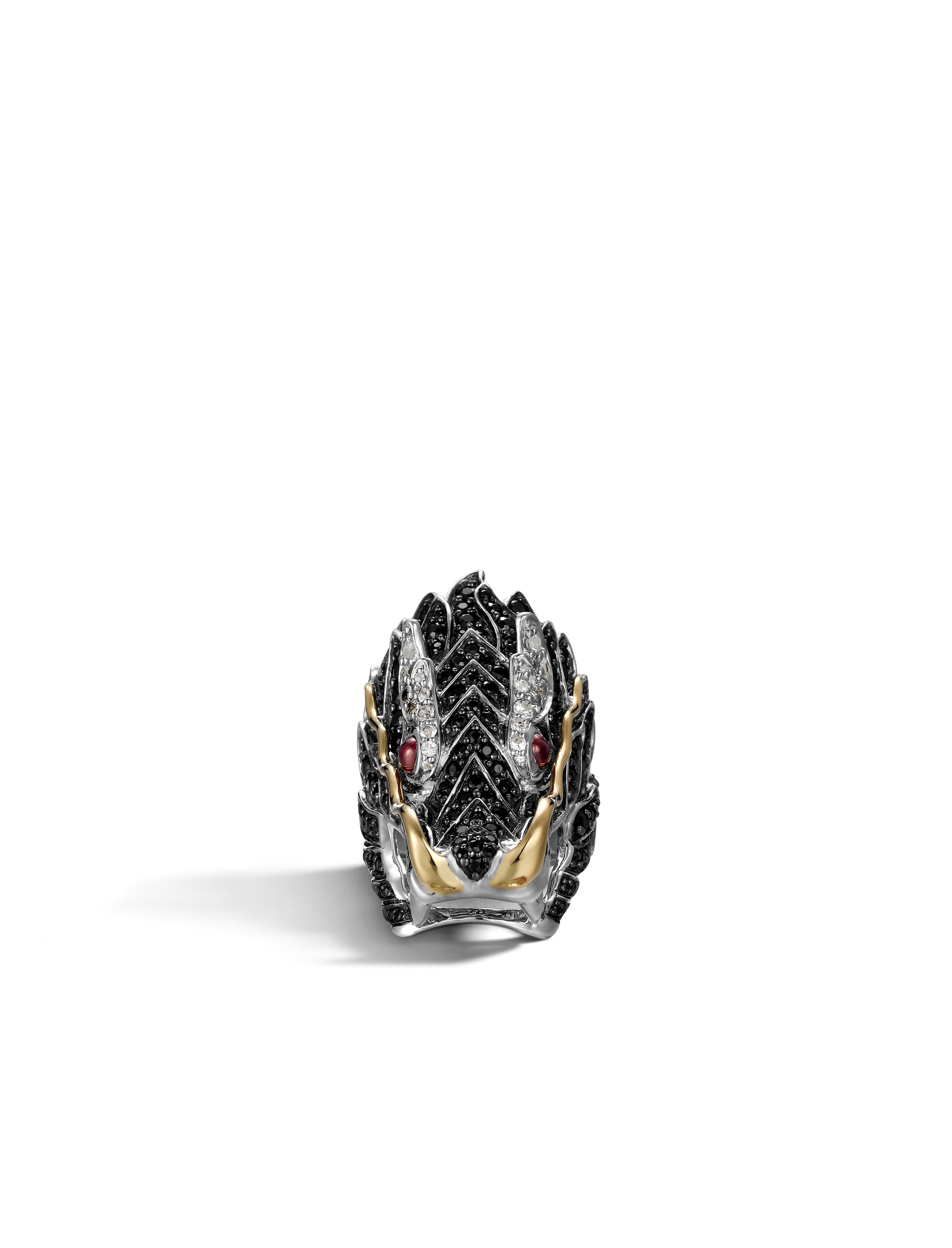 Legends Naga Head Ring in Silver and 18K Gold with Gemstone, Ruby, large