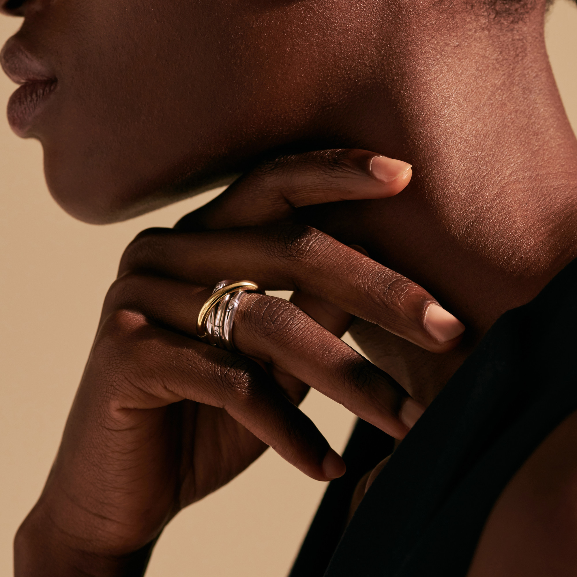 Bamboo Band Ring in Silver and 18K Gold, , modelview