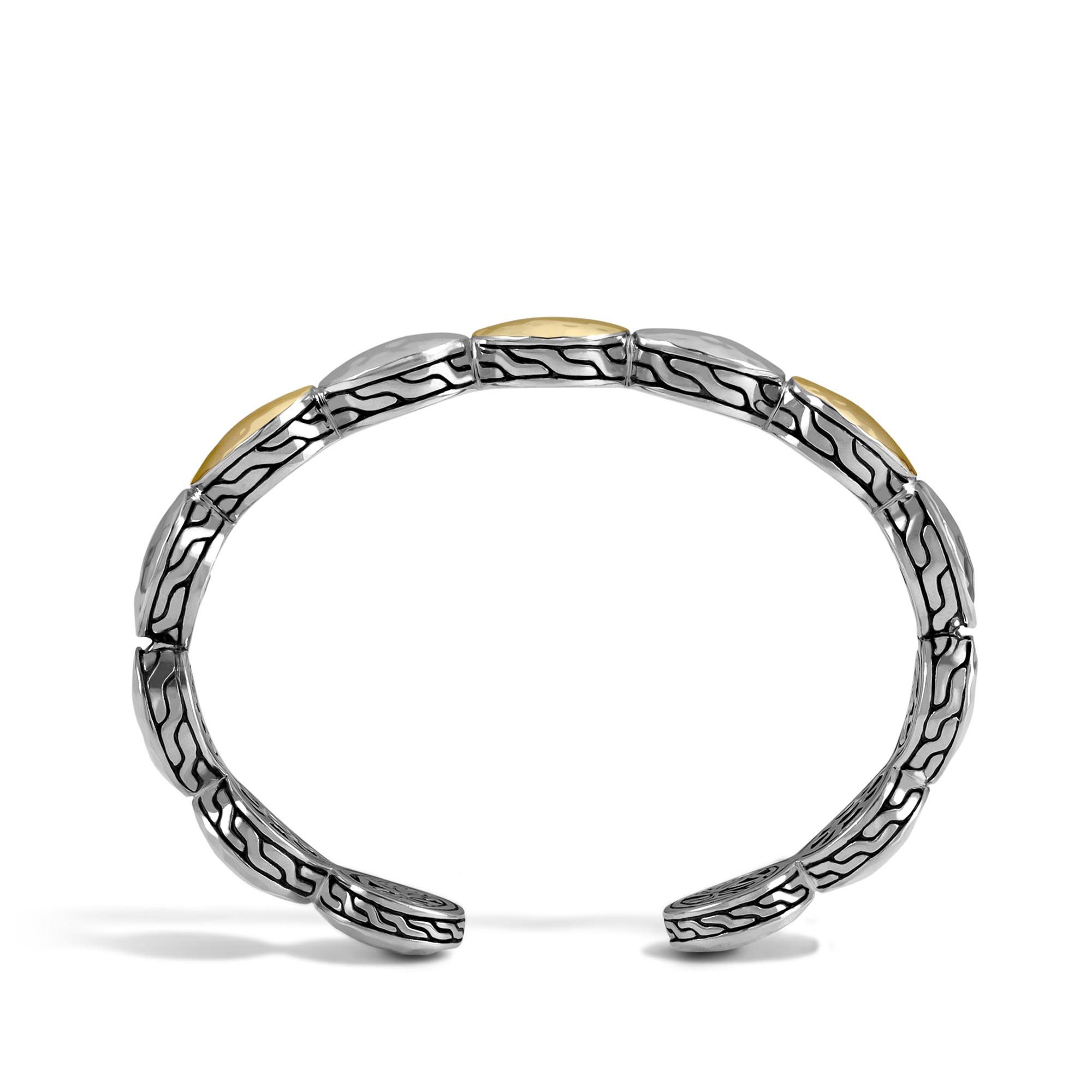 Dot 13MM Cuff in Hammered Silver and 18K Gold, , large