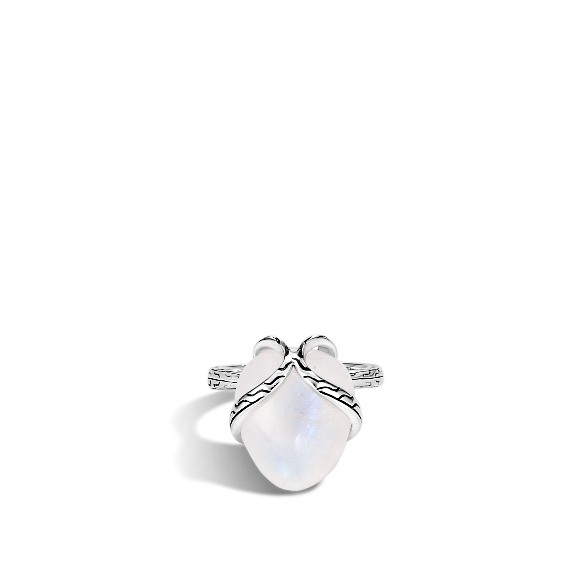 Classic Chain Ring in Silver with 14MM Gemstone, Milky Rainbow Moonstone, large