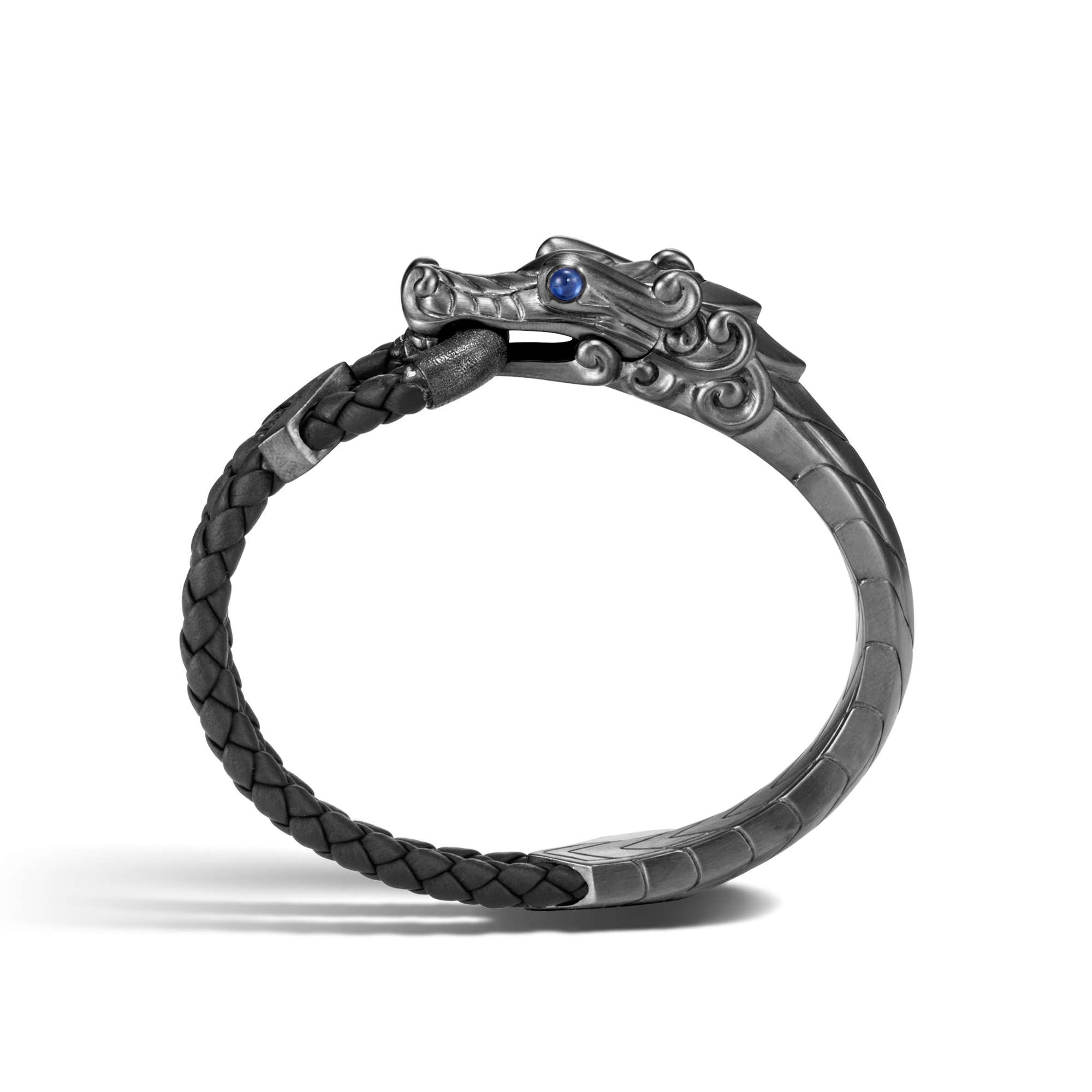 Legends Naga Bracelet in Blackened Silver with Leather, , large