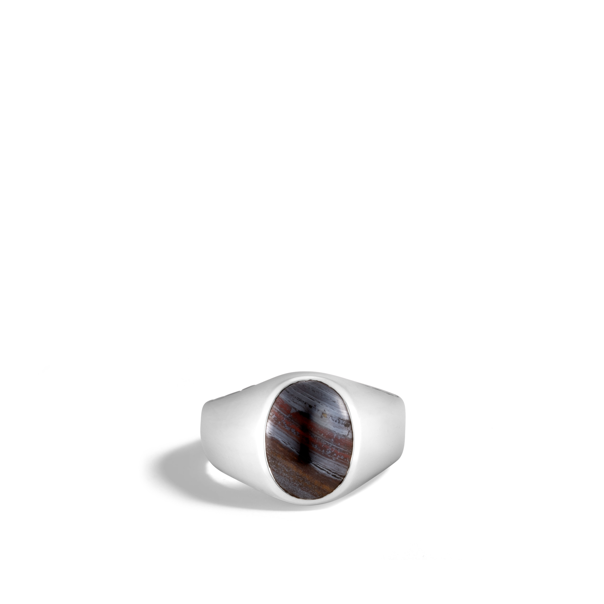 Classic Chain Oval Signet Ring in Silver with Gemstone, Tiger Iron, large